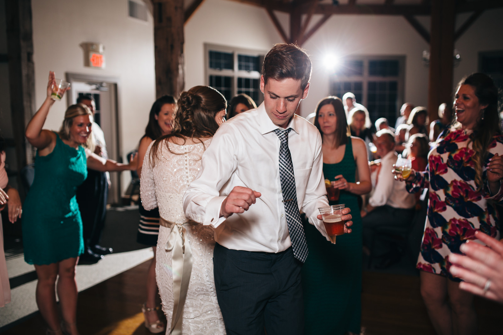 Bride and groom dance at reception at Quailcrest Farm in Wooster, Ohio.
