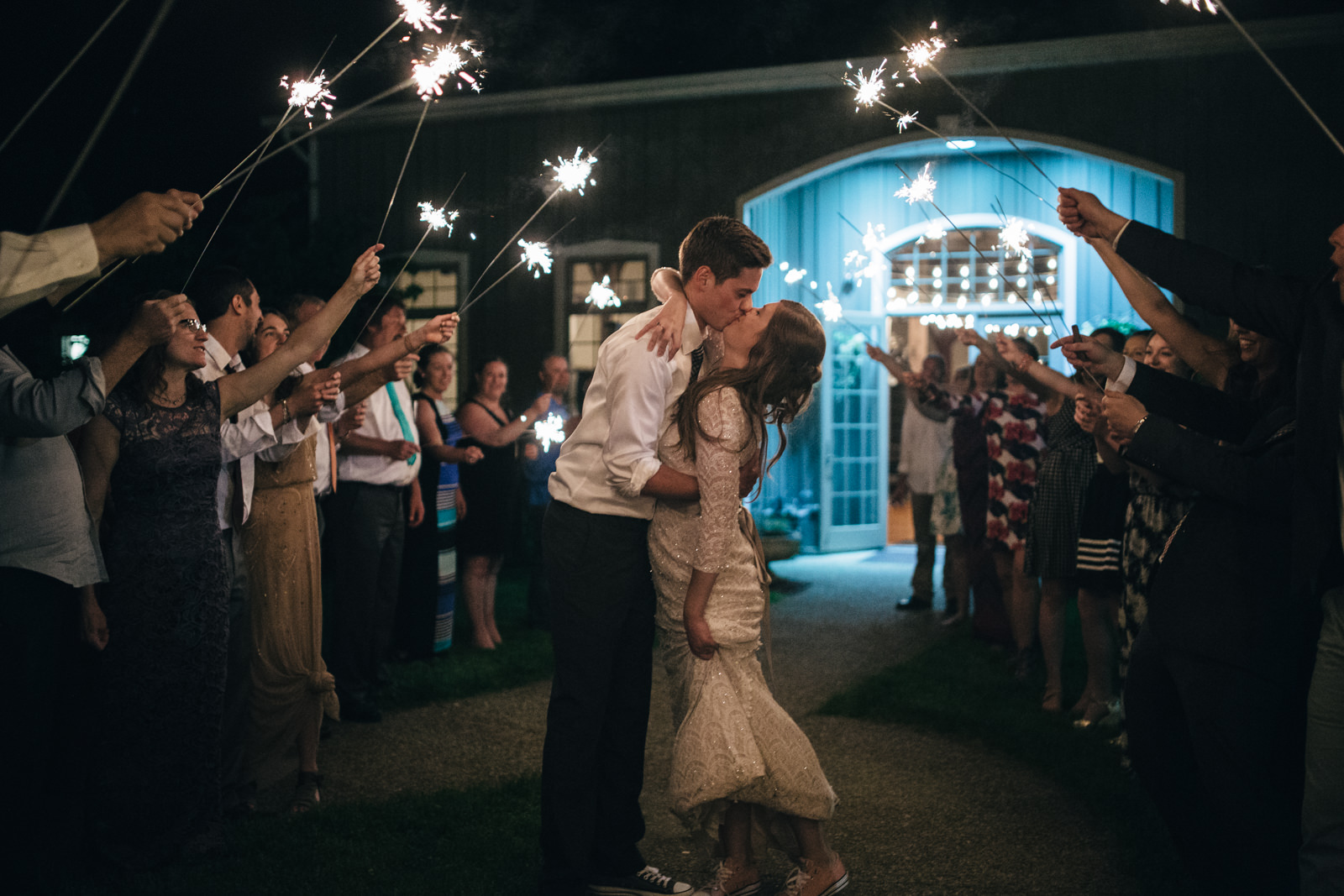 Beautiful sparkler exit after wedding at Quailcrest Farm.