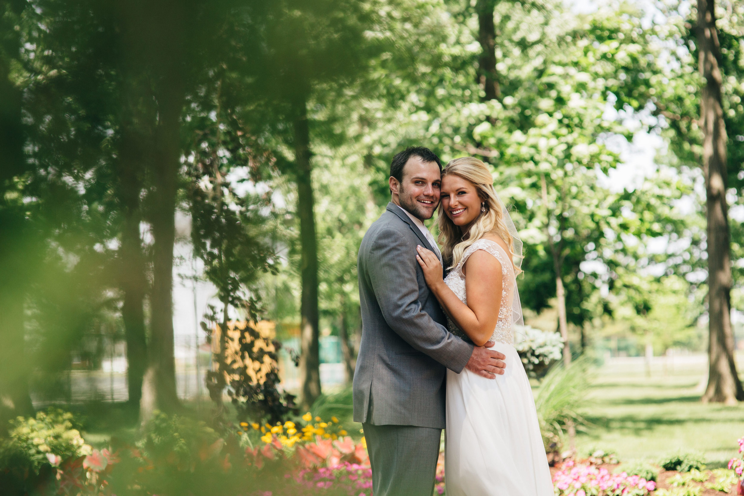 Bride and groom portrait before ceremony at Oak Shade Grove.
