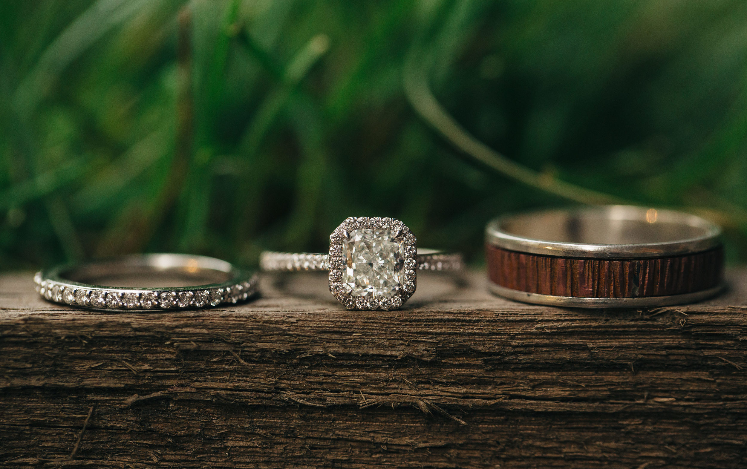 Bride's diamond ring with grooms copper ring.