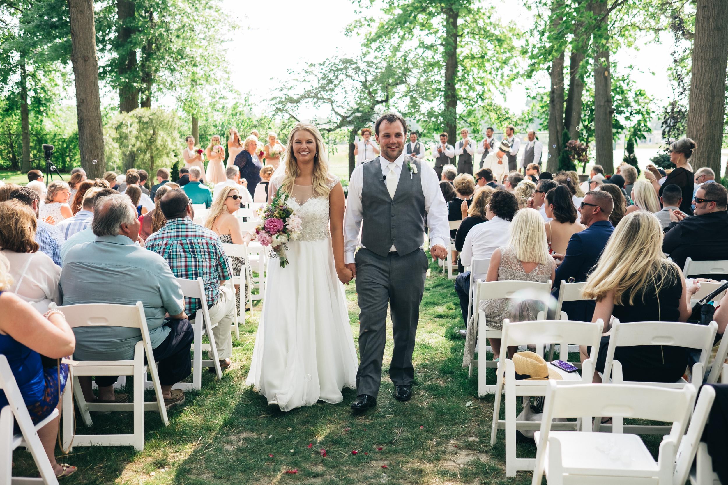Wedding photography of outdoor ceremony in Toledo, Ohio.