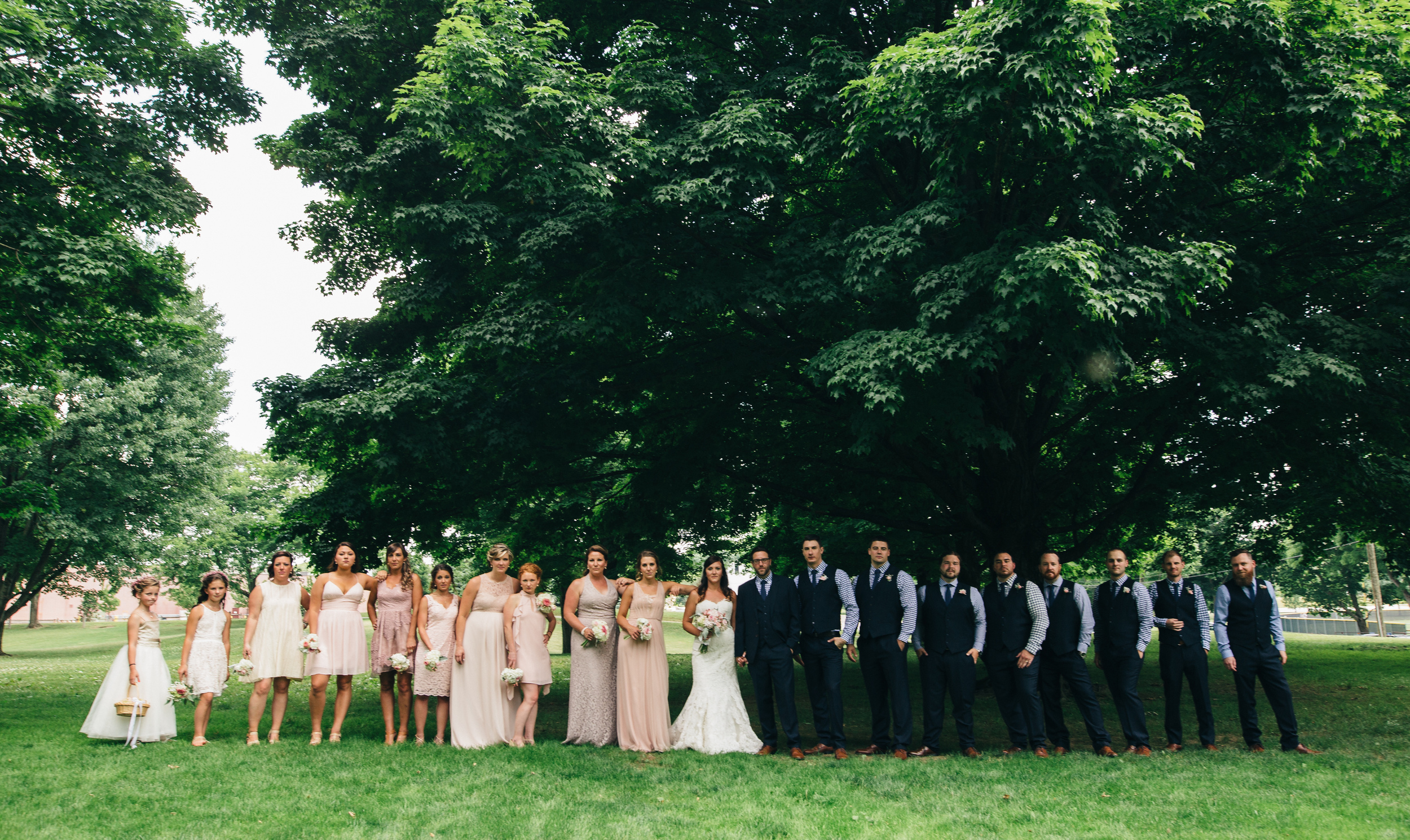Large bridal party wedding photography at Walsh University in Canton, Ohio.