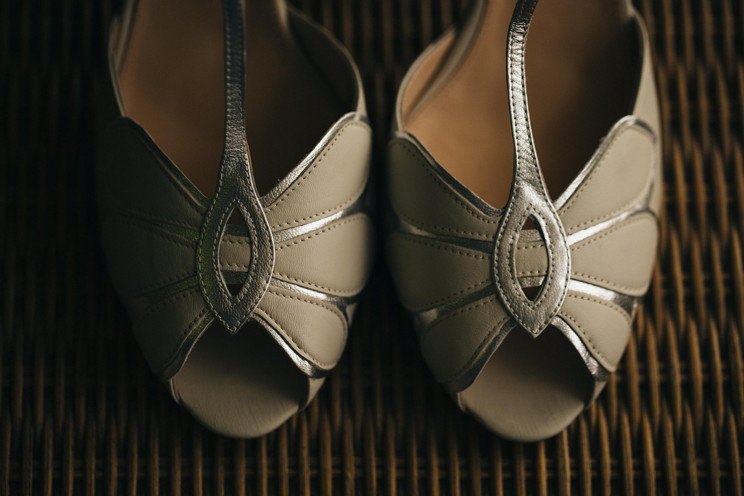 Ivory bridal wedding shoes in Ohio wedding.