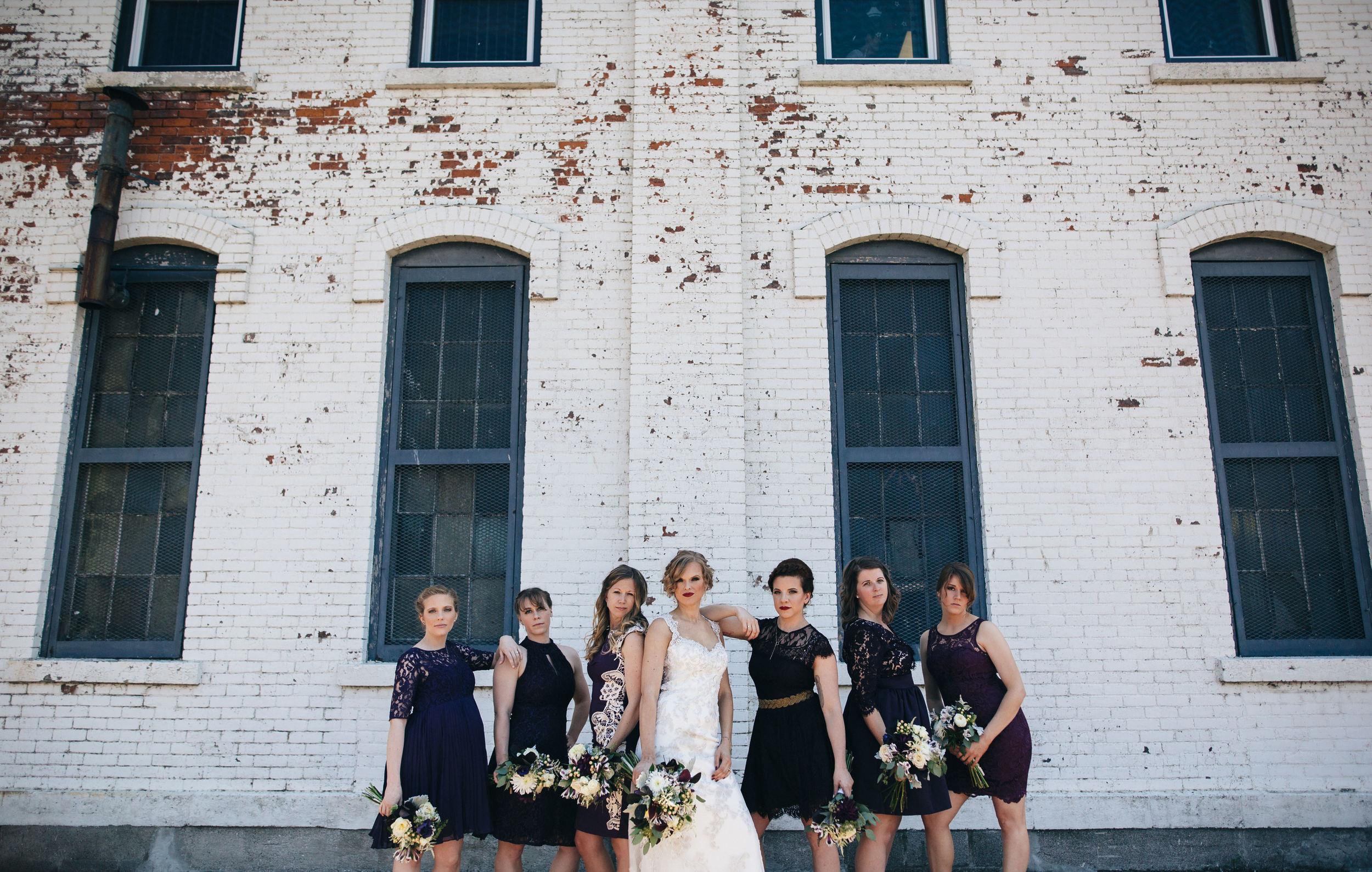 Bridesmaids in purple dresses in Sandusky, Ohio.