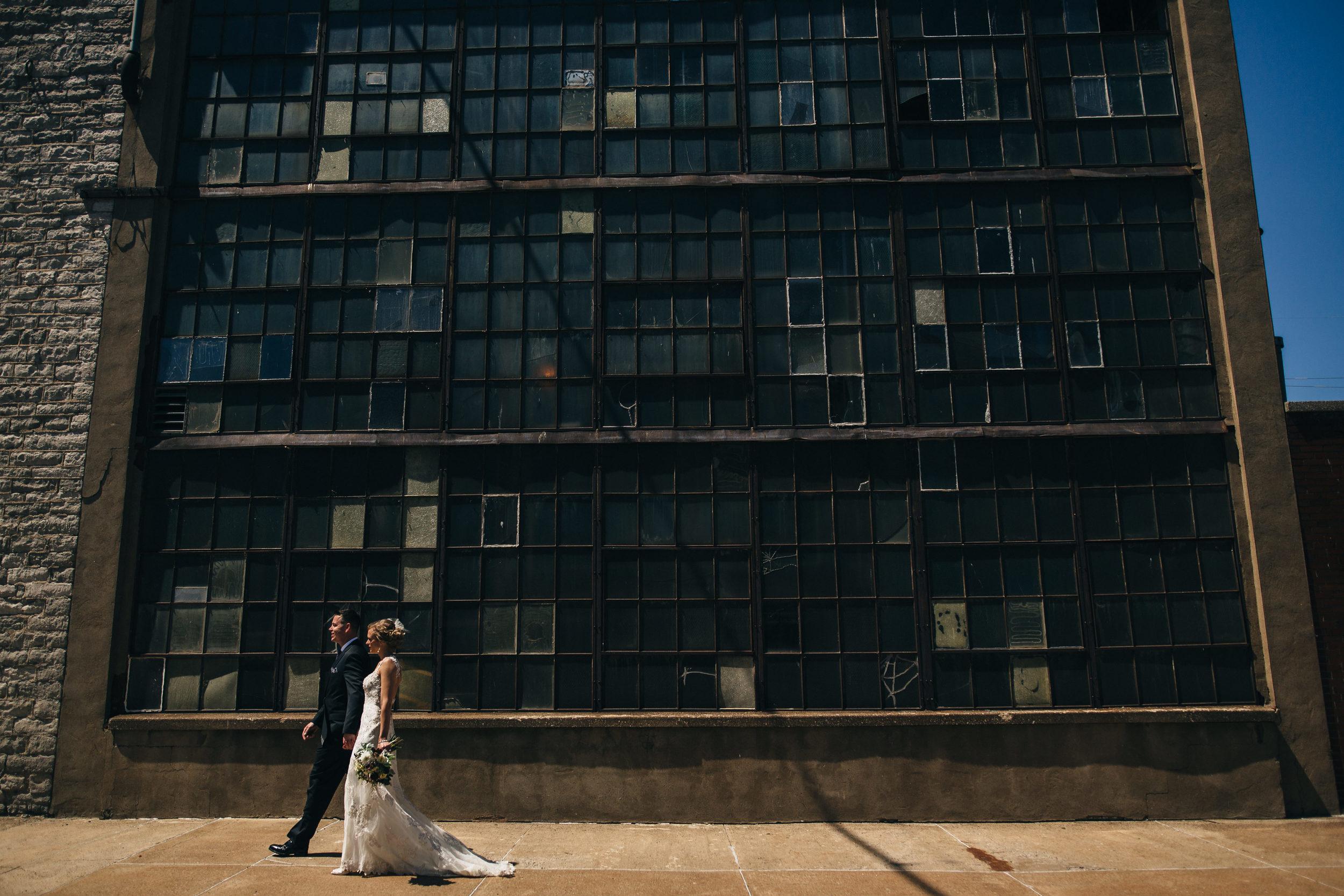 Bride and groom wedding photography in downtown Sandusky, Ohio.