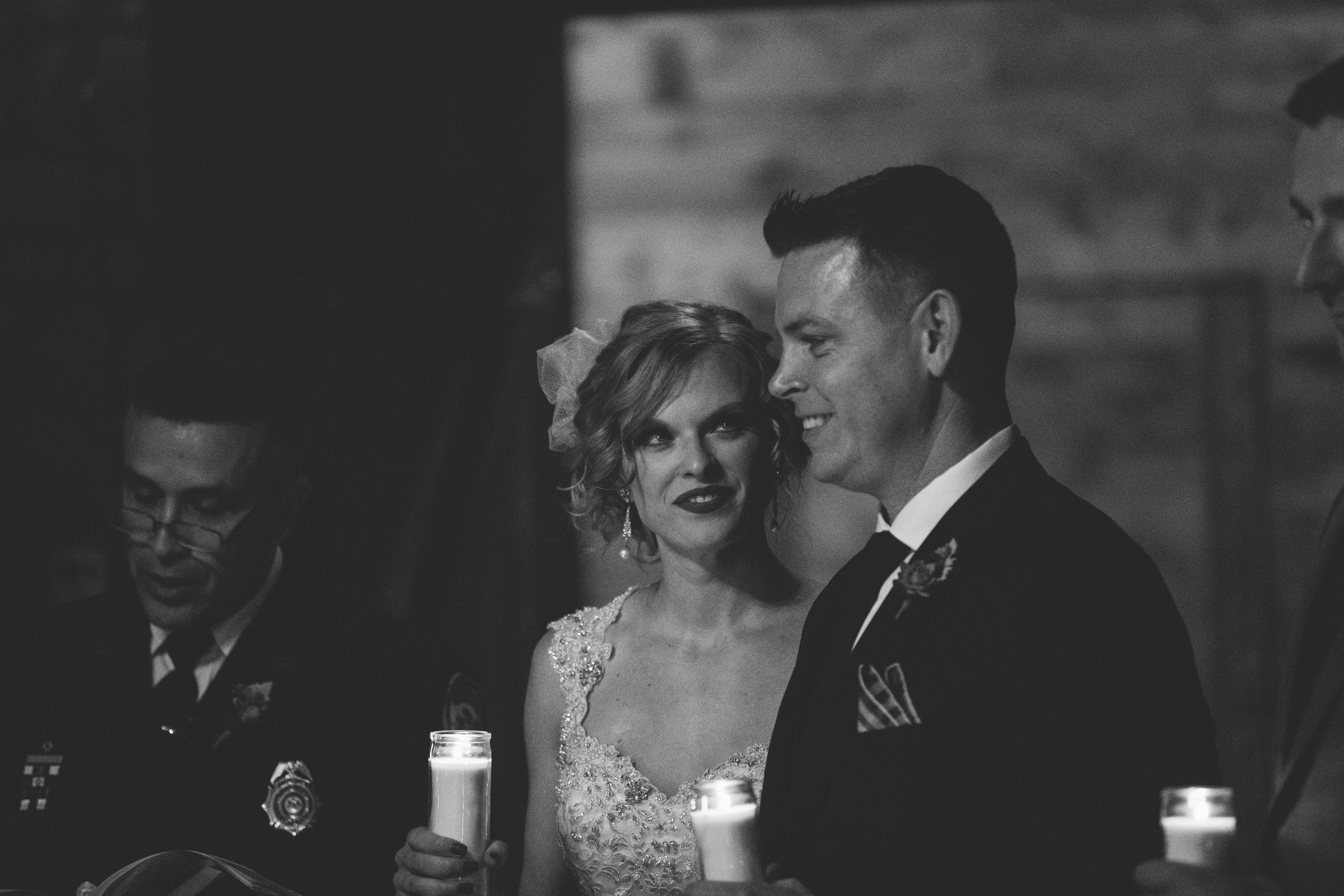 Candle light wedding ceremony at Mon Ami Winery.