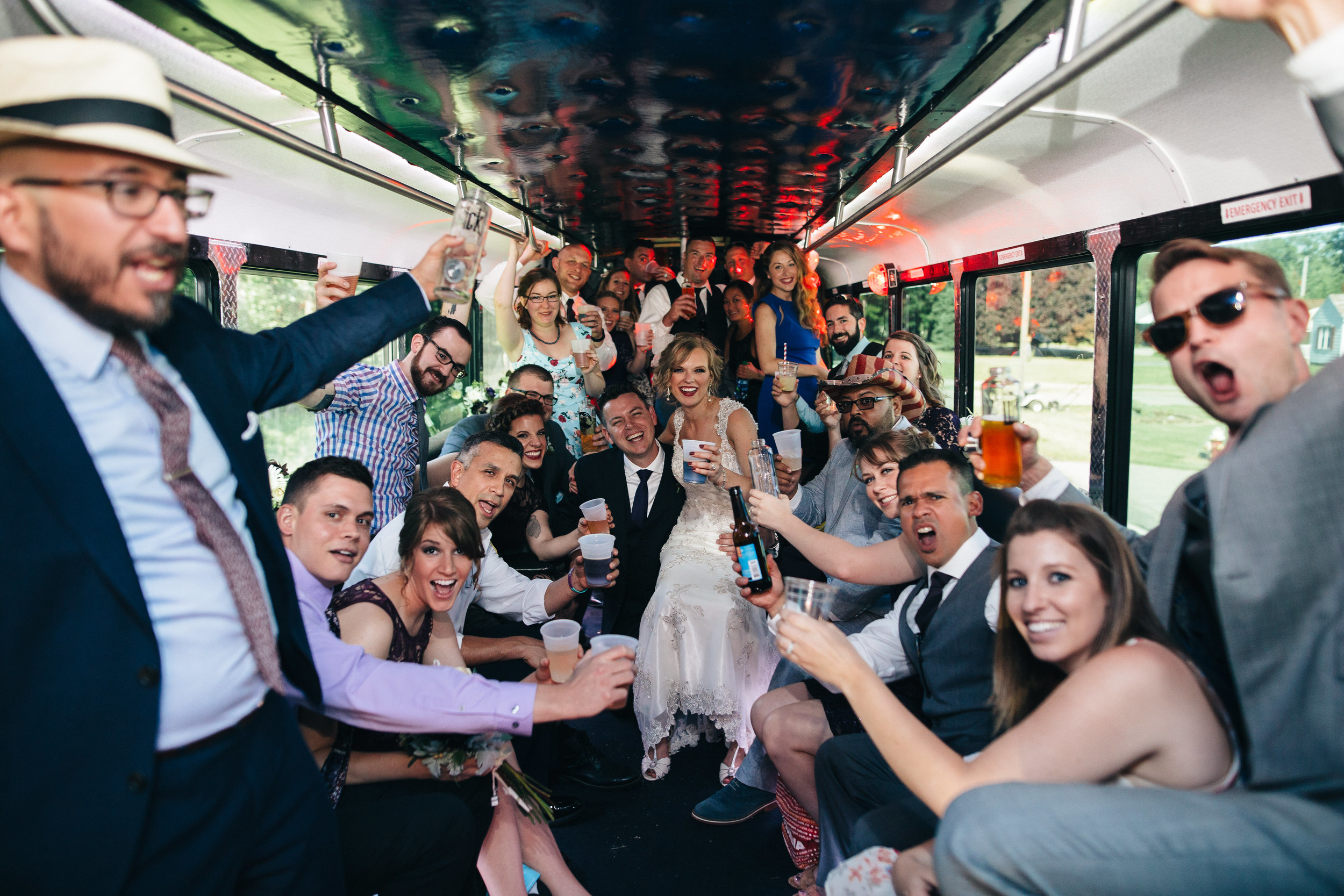 Bridal party on party bus to Catawba Island Brewery
