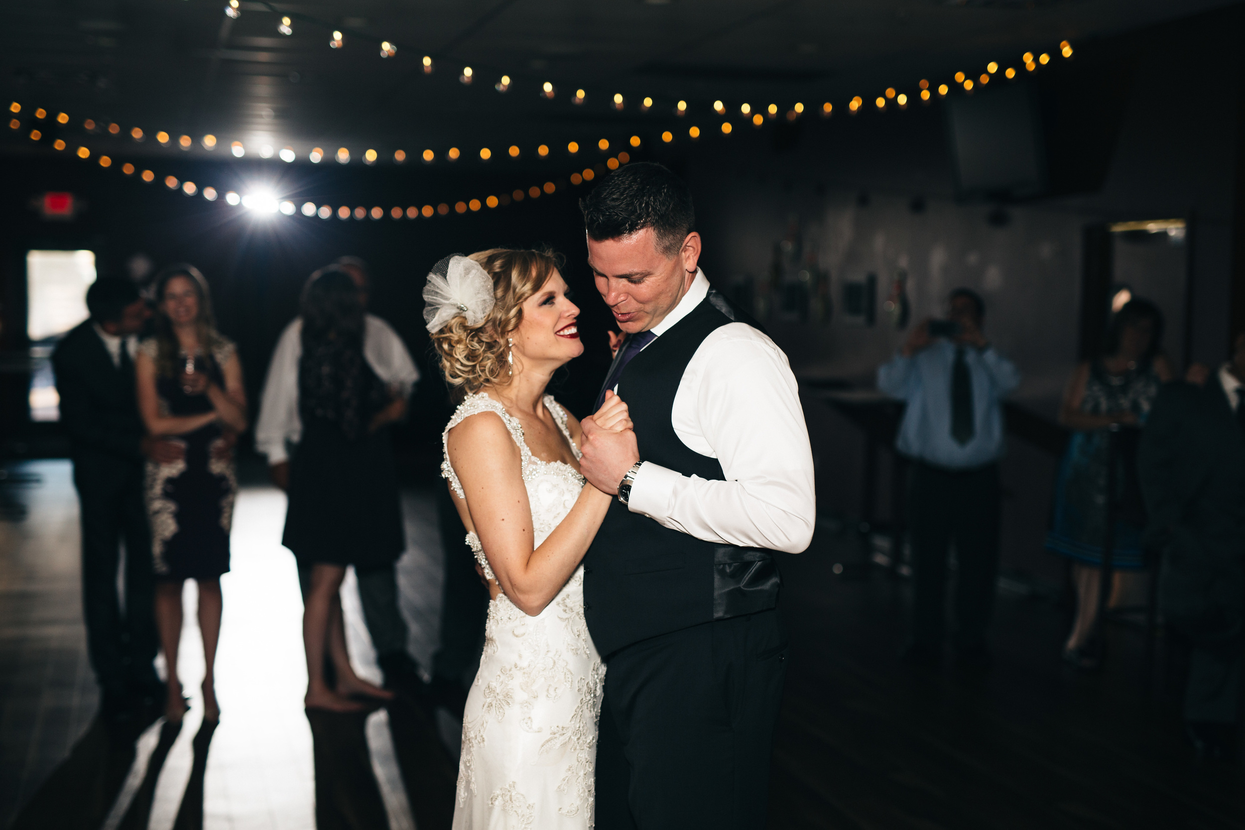 Bride and groom's first dance at Plaza Lanes in Fremont, Ohio.