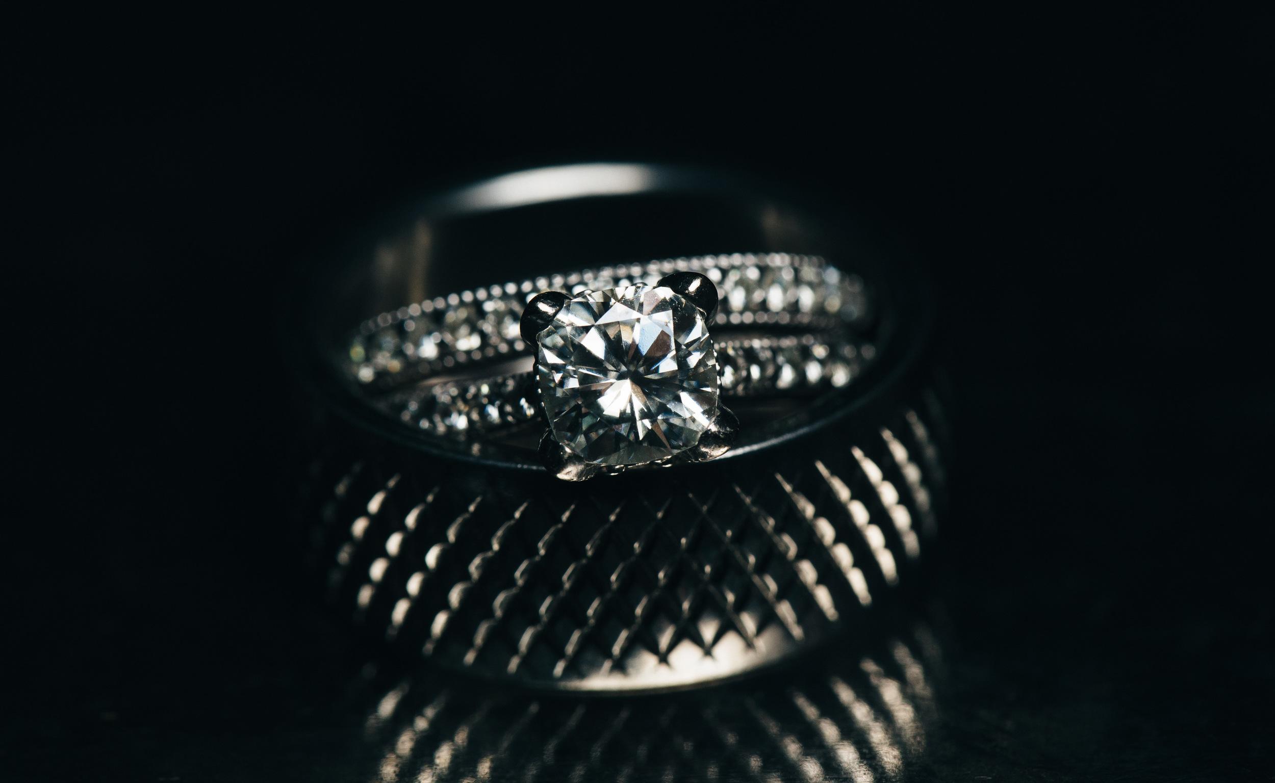 Ridged wedding band for grooms and diamond wedding ring.