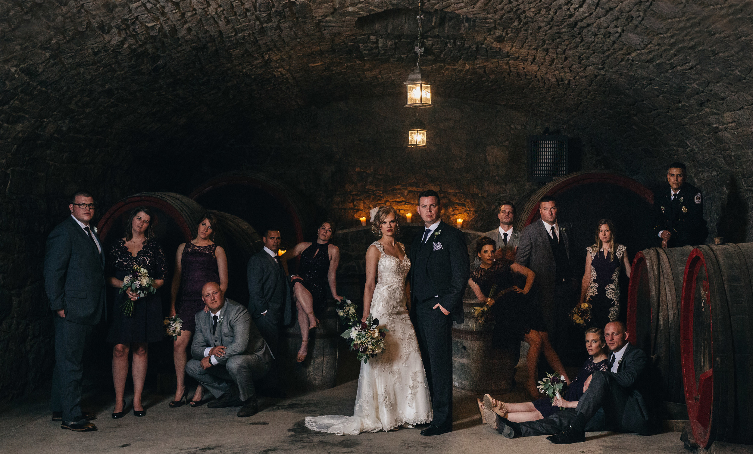 Annie Leibovitz style bridal party wedding photography.