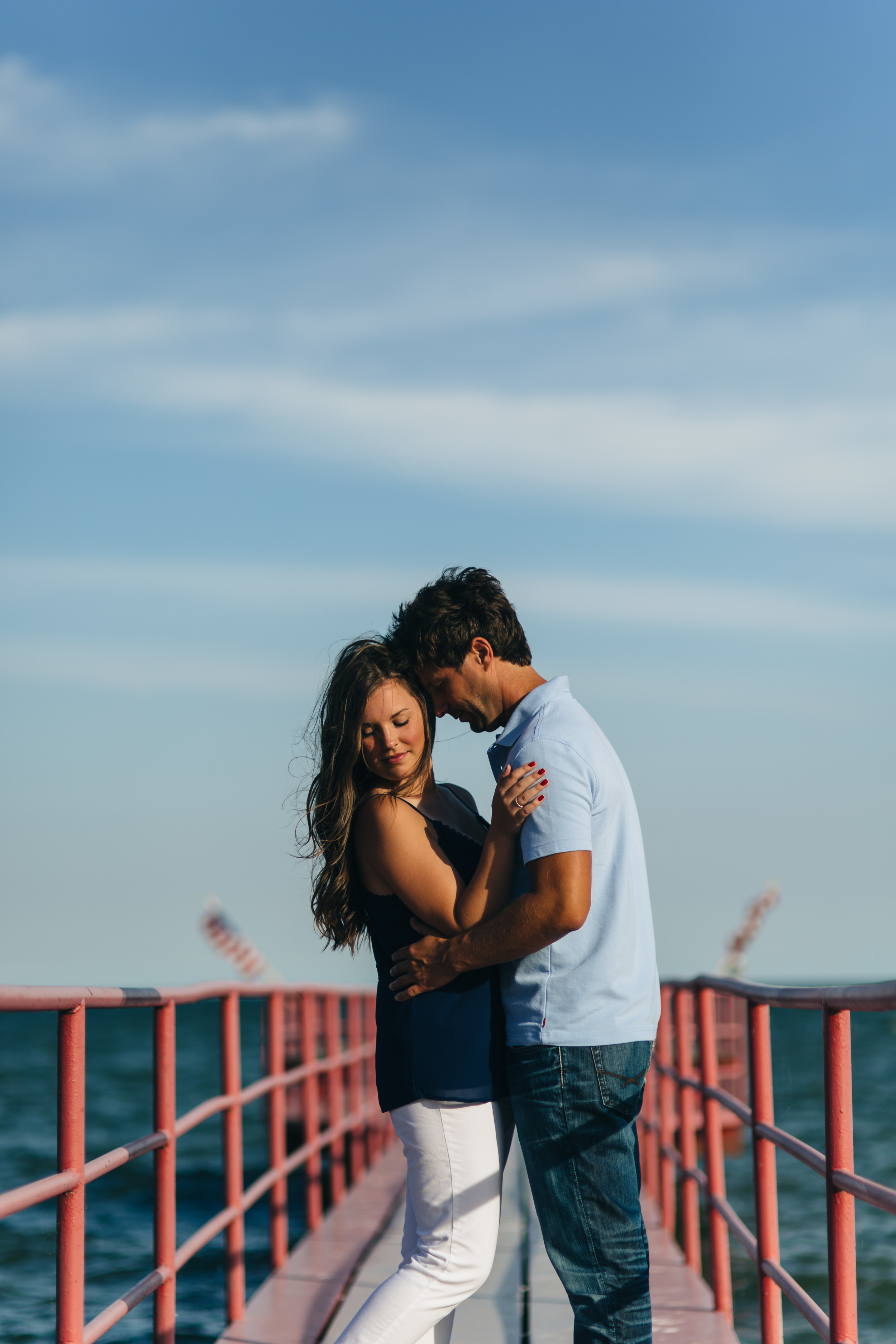 Engagement session by Brest Bay in Monroe, Michigan.