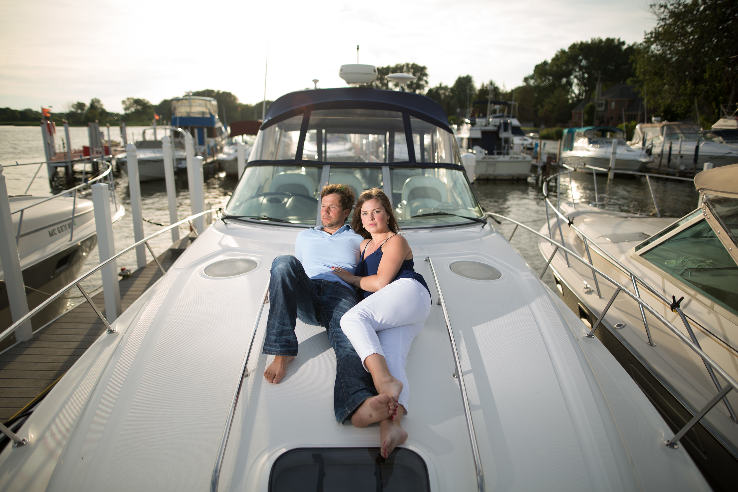 Nautical engagement session on a boat in Lake Erie.