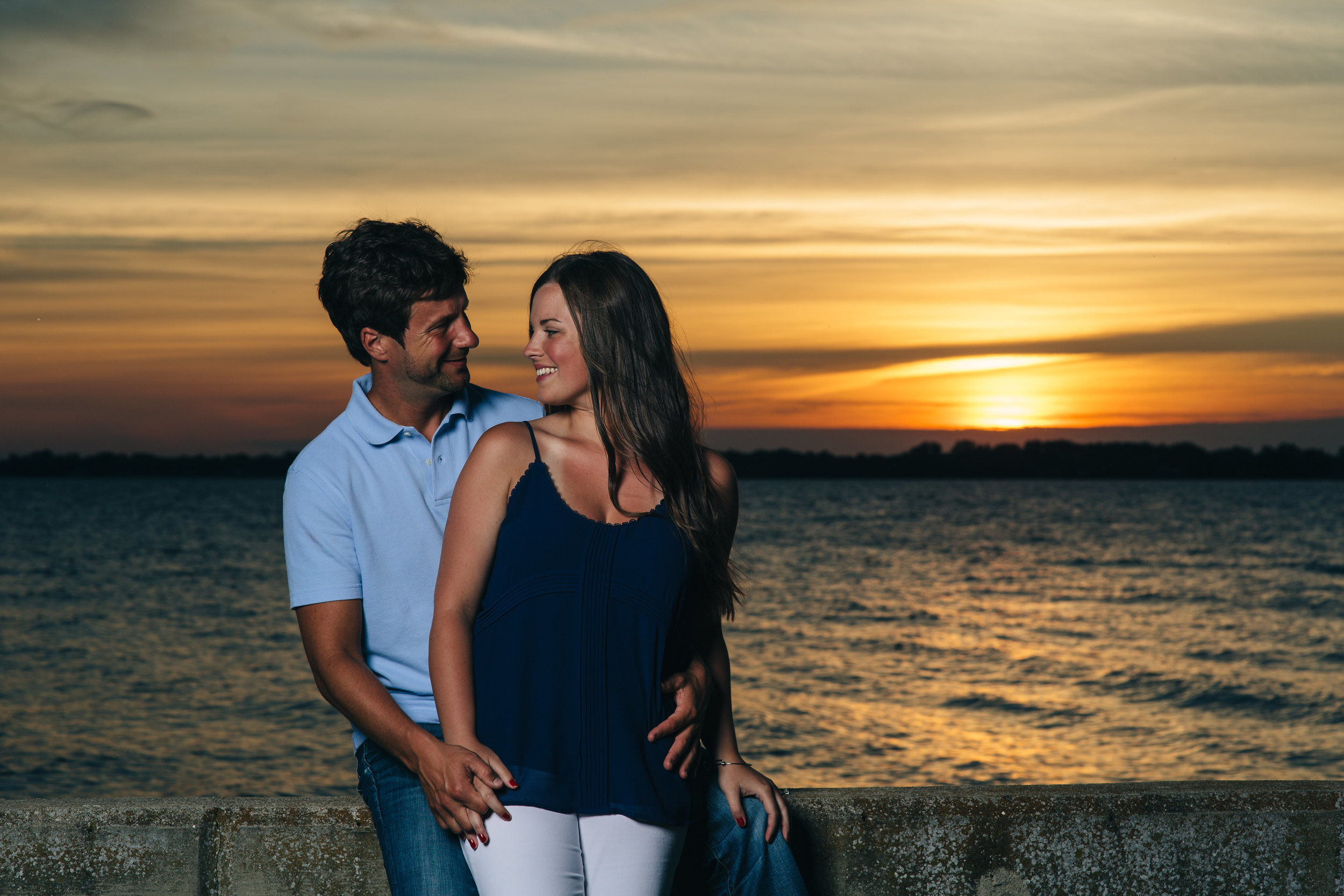 Sunset engagement session at Brest Bay in Michigan.