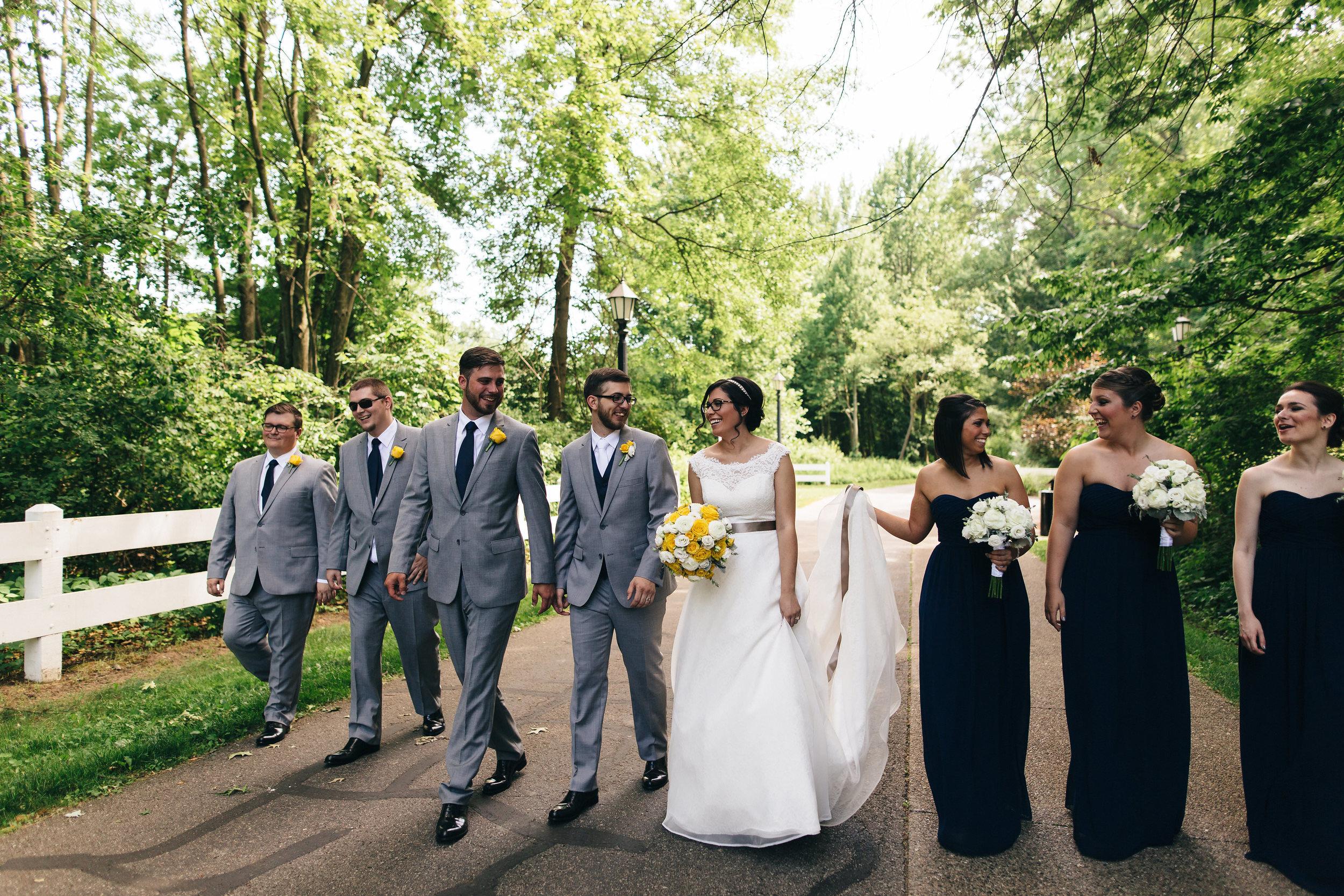 Wedding party photography at Wildwood Metropark in Toledo.
