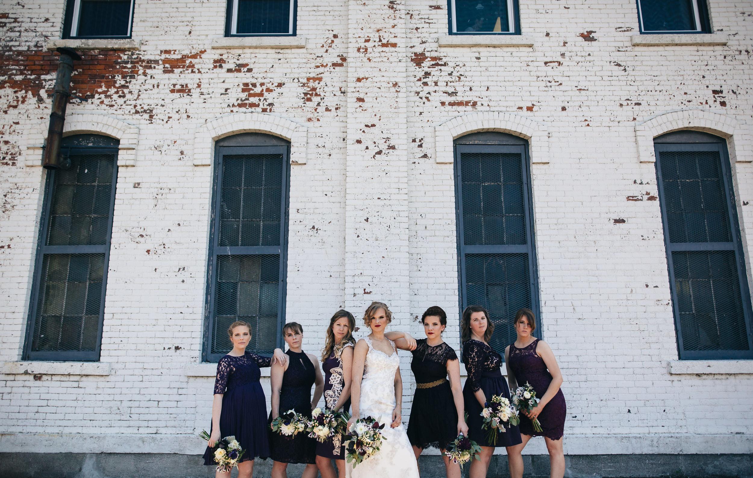Purple wedding, bridesmaids photography in Sandusky, Ohio.