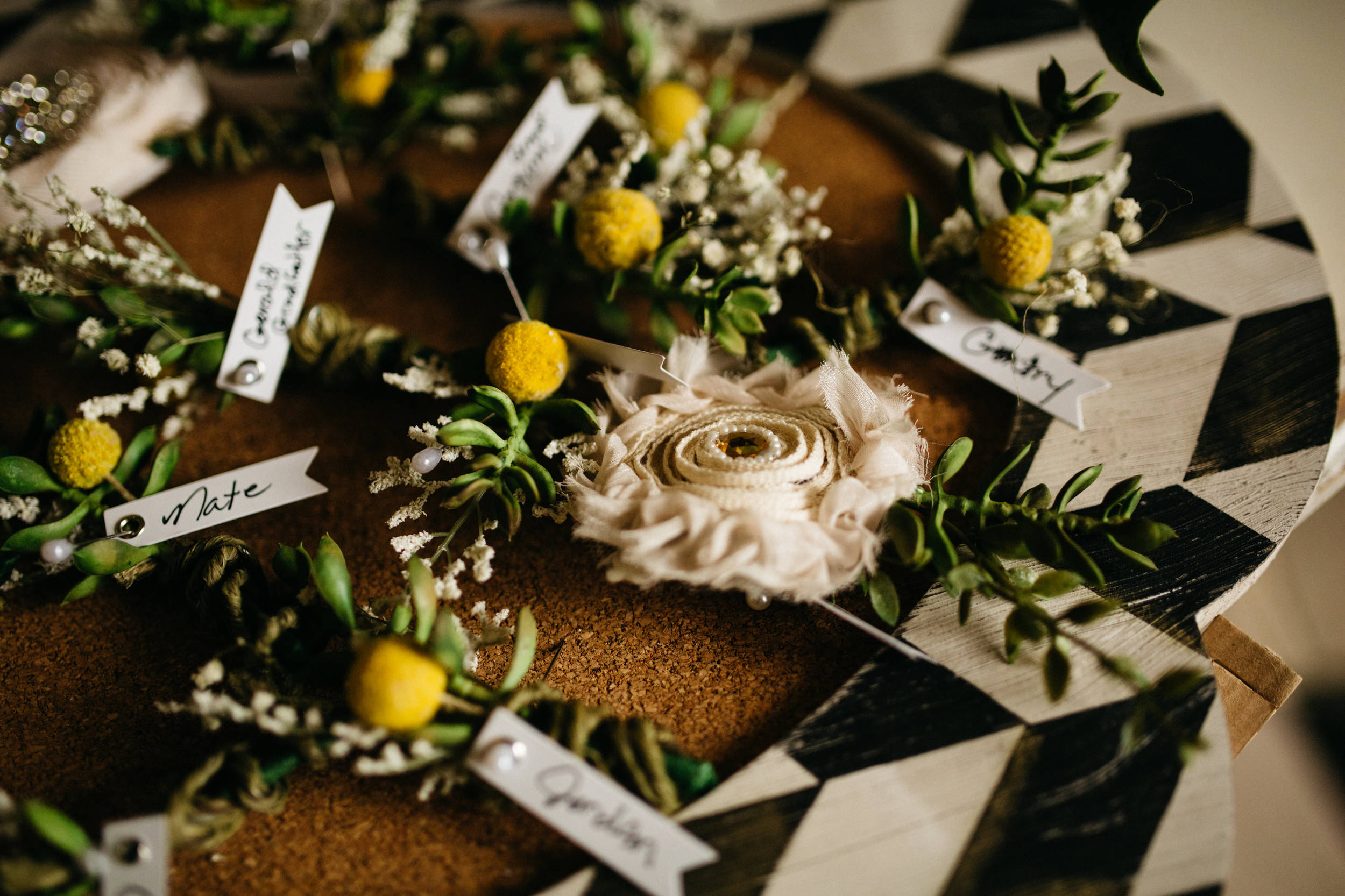 Bridal party boutonniere wedding photography