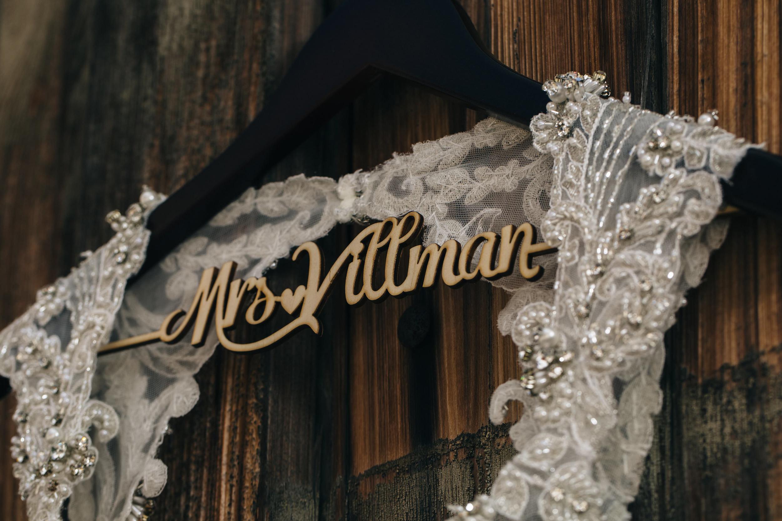 Custom bridal gown hanger from Etsy.