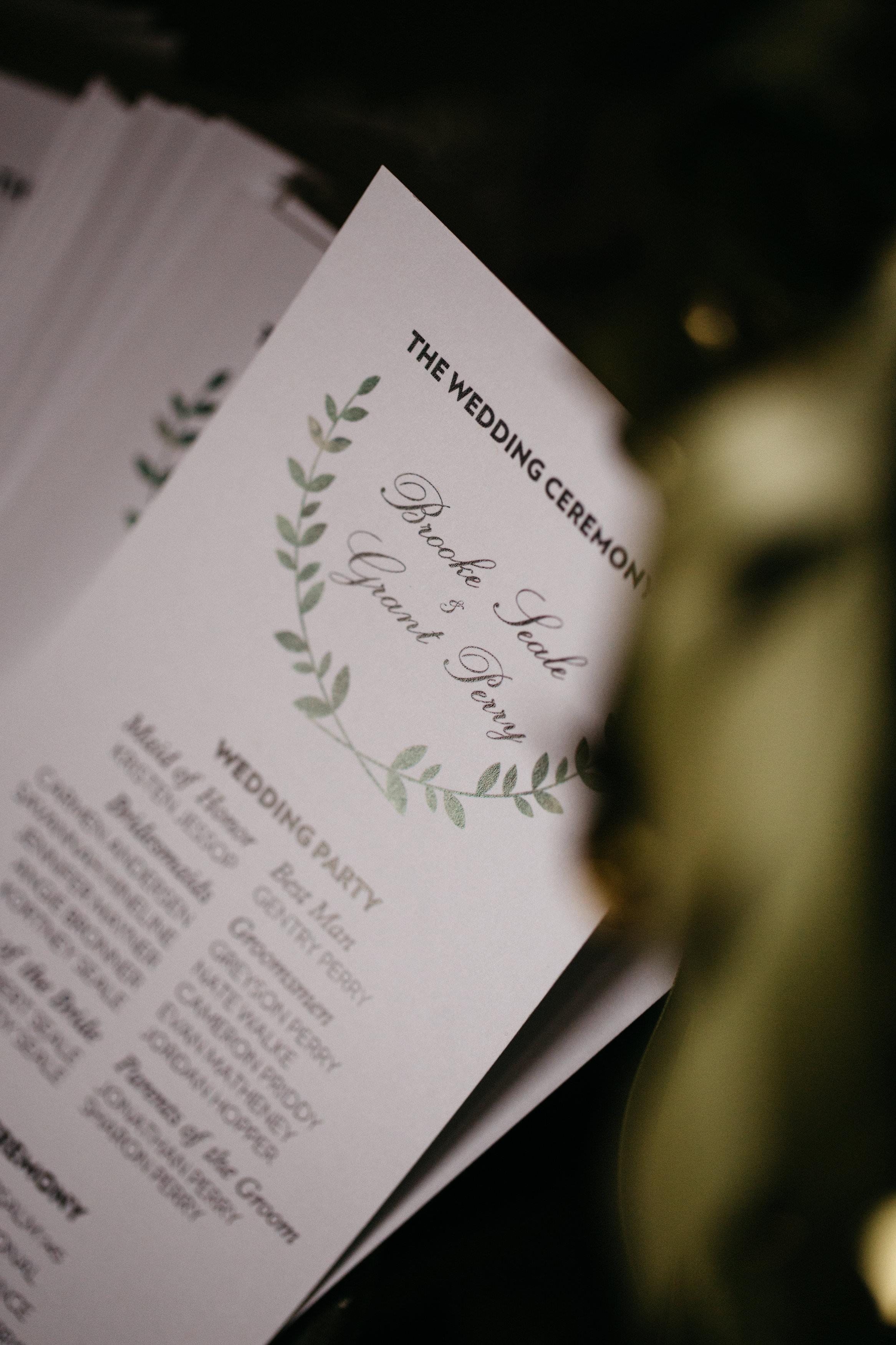 Wedding programs for wedding in Tiffin, Ohio.