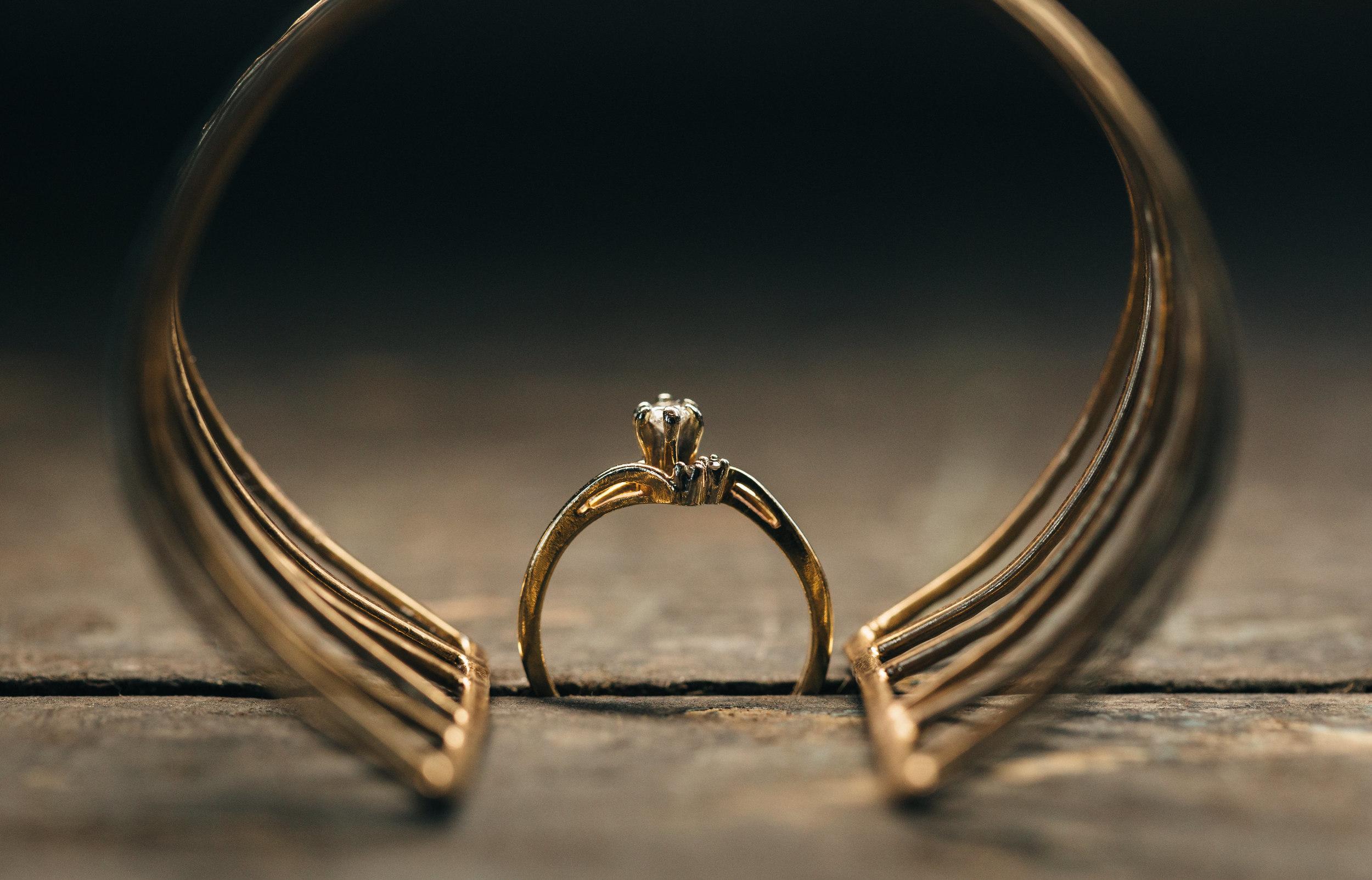Vintage wedding ring and bracelet.