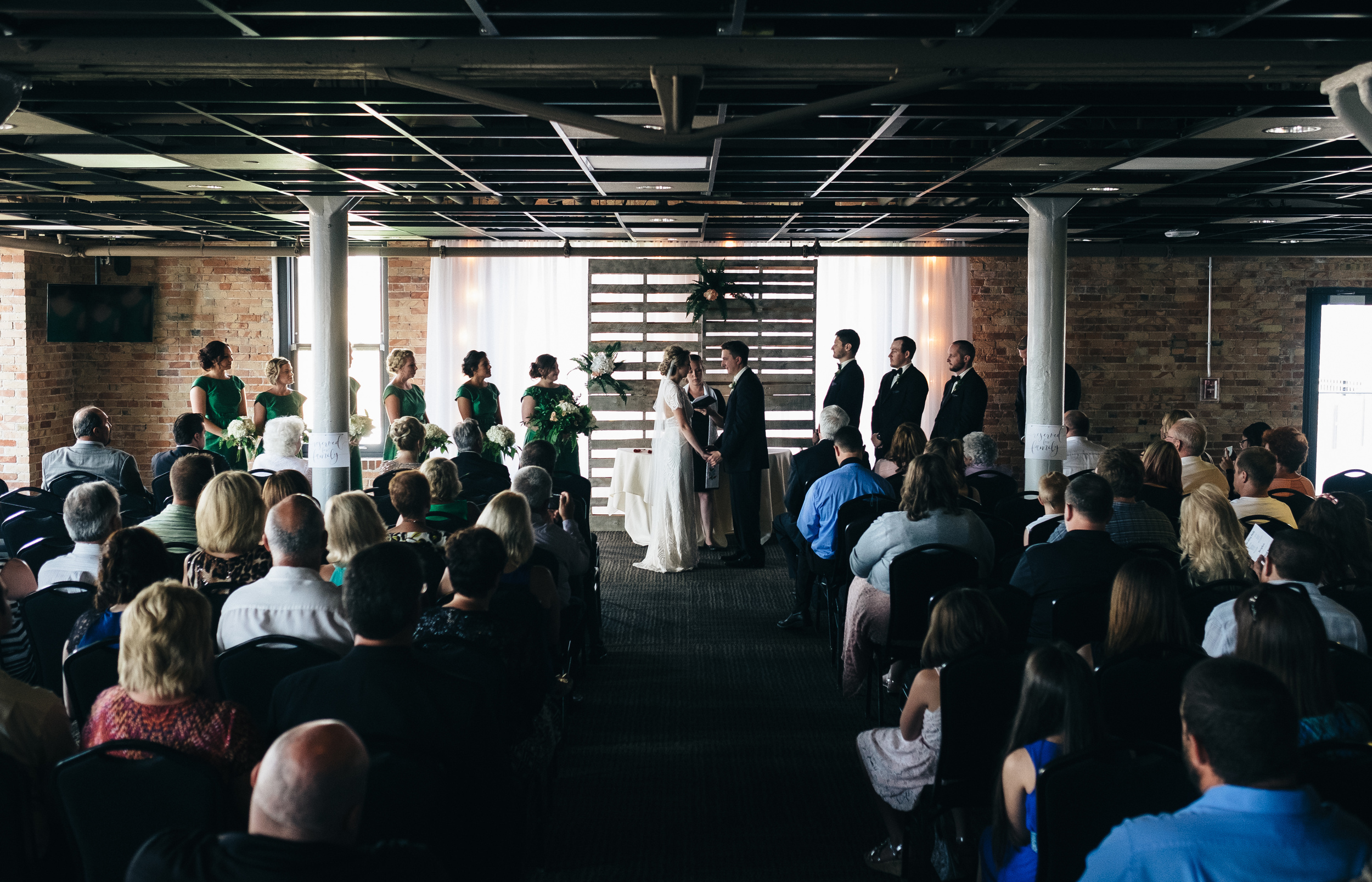 Wedding ceremony at Hensville Park in Downtown Toledo, Ohio.