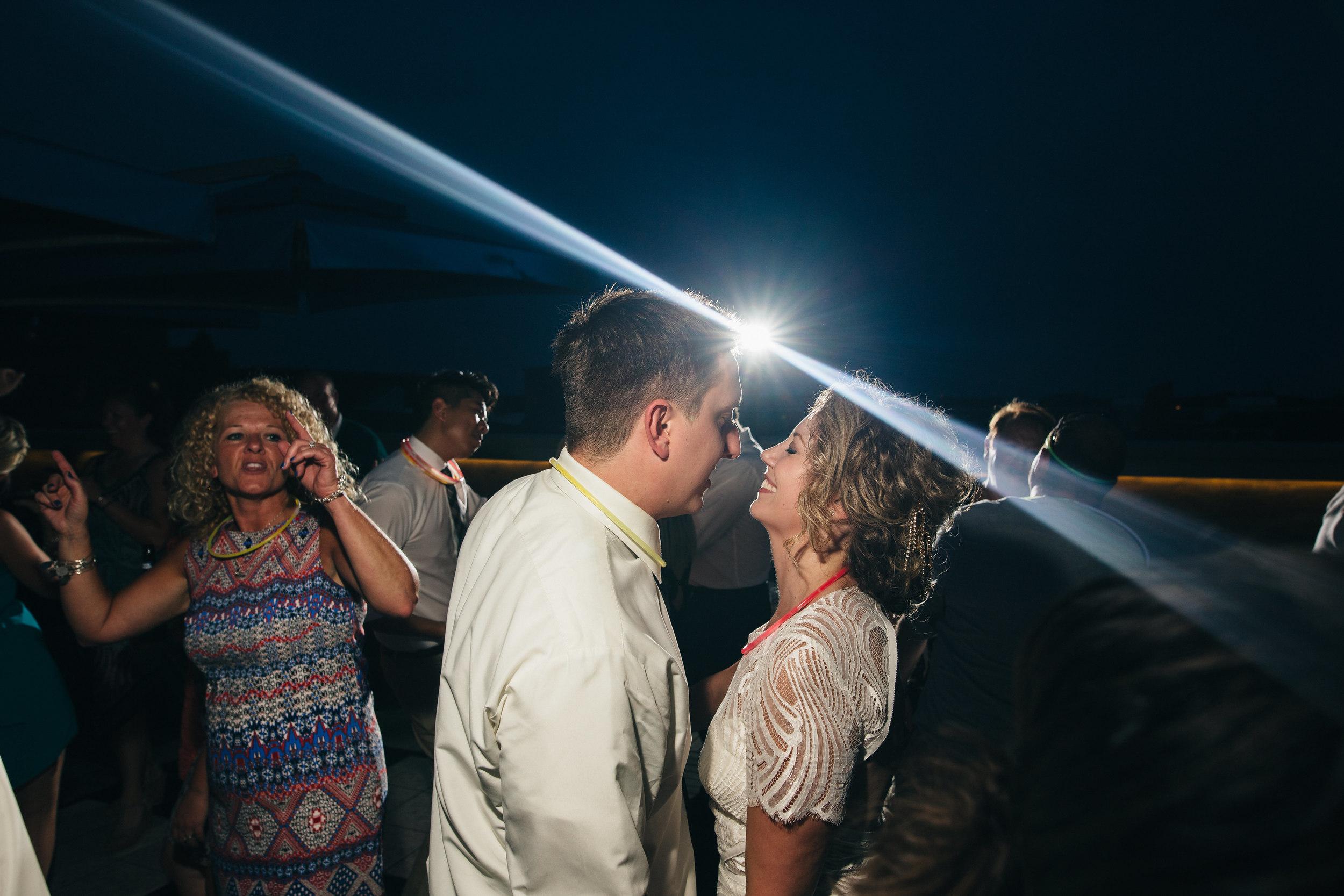 Bride and groom dancing at wedding reception in Toledo, Ohio.