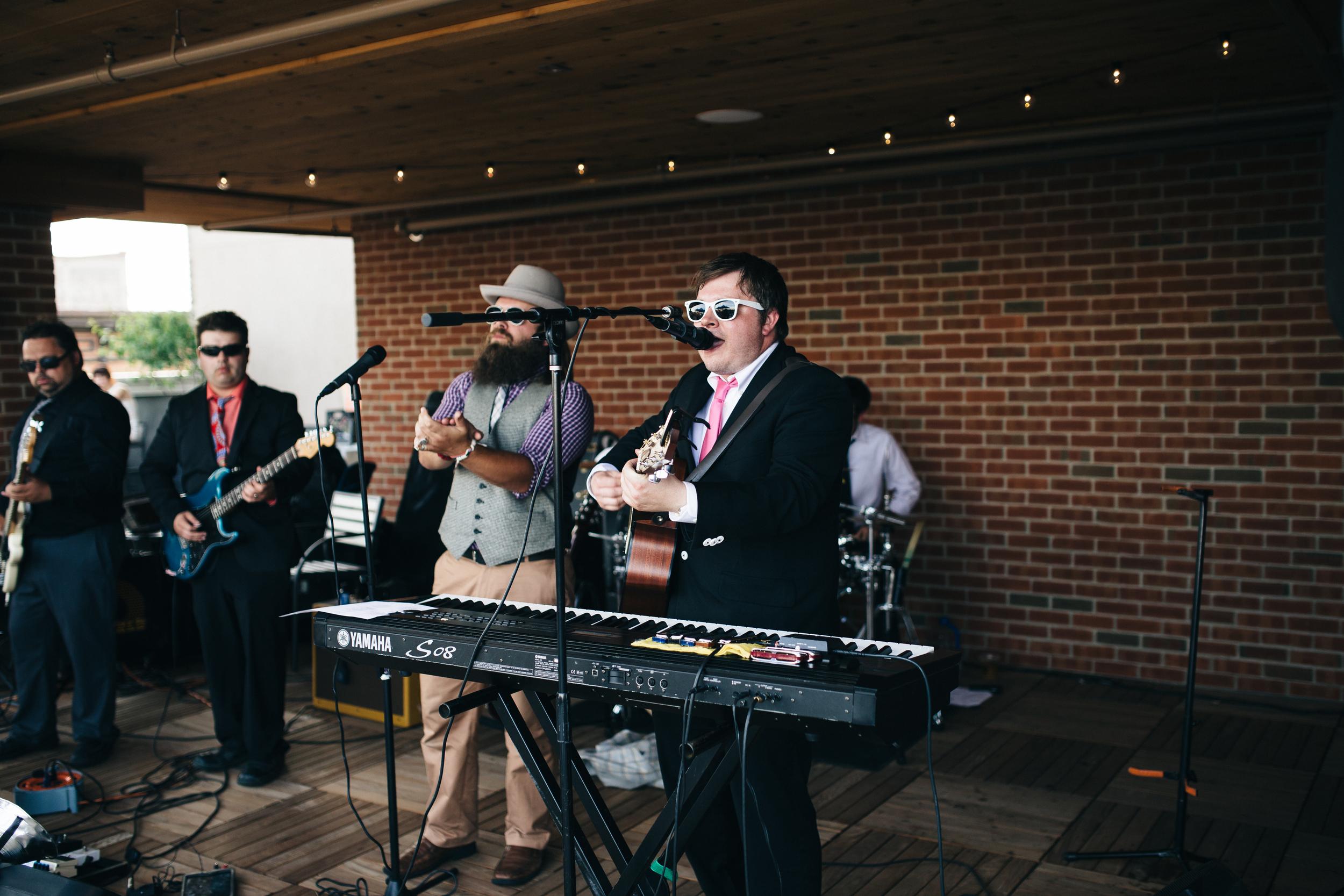 Toledo wedding band, Nine LIves, plays at Hensville wedding reception.