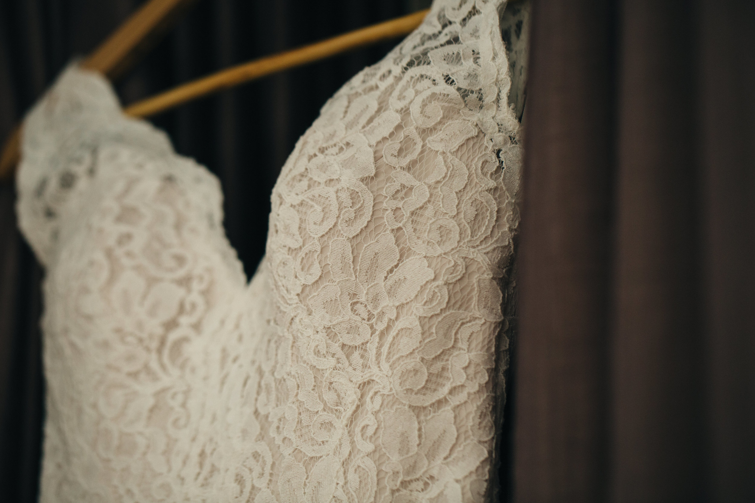 Lace wedding dress by Mikaella Bridal from Ivy Bridal in Columbus, Ohio.