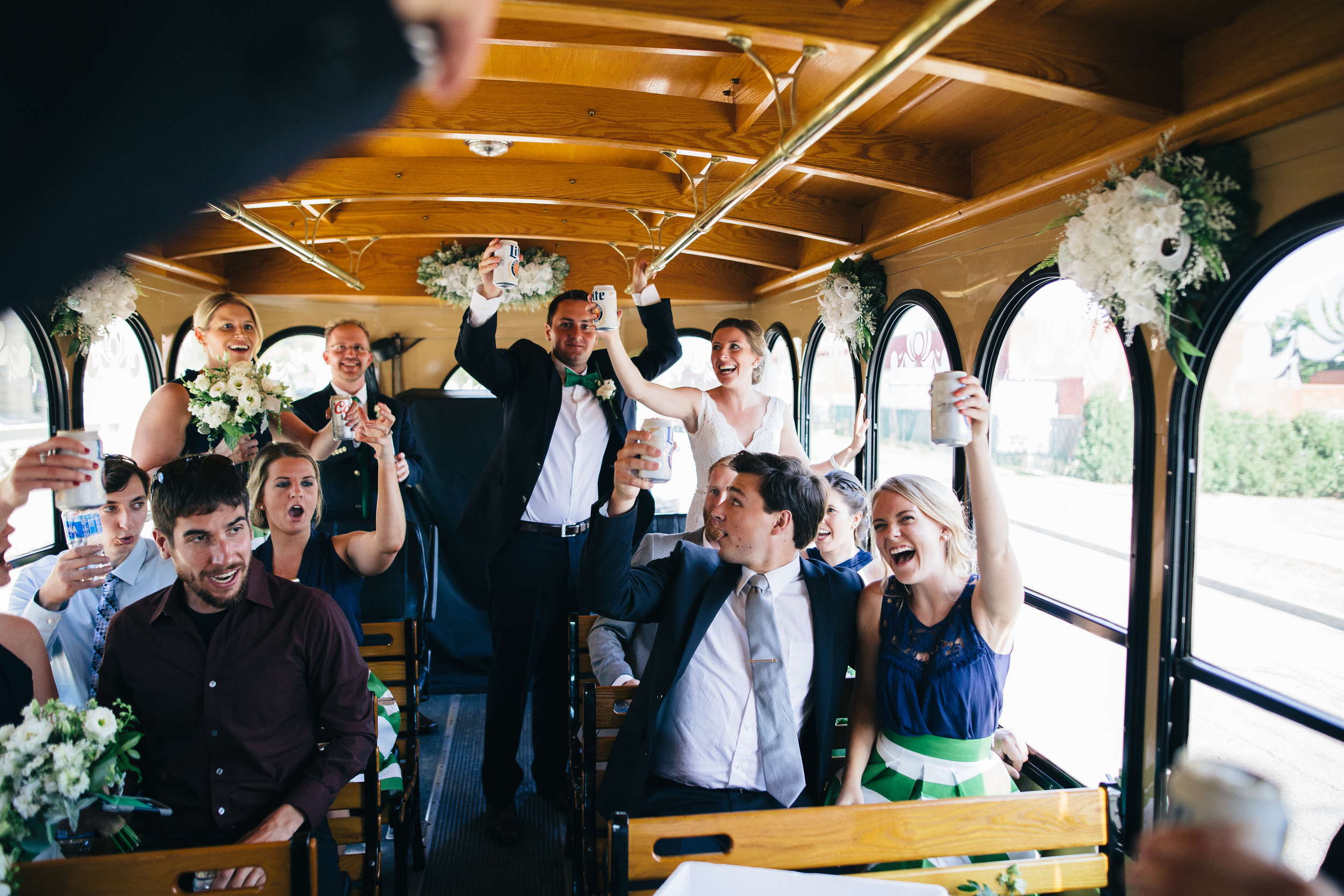 Wedding day trolley ride.