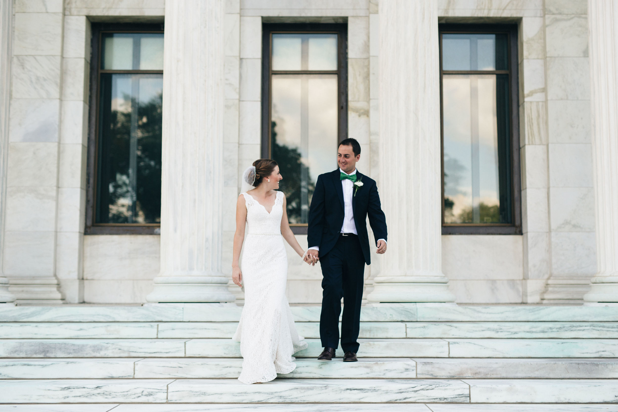 At the Toledo Museum of Art for bride and groom wedding photography.