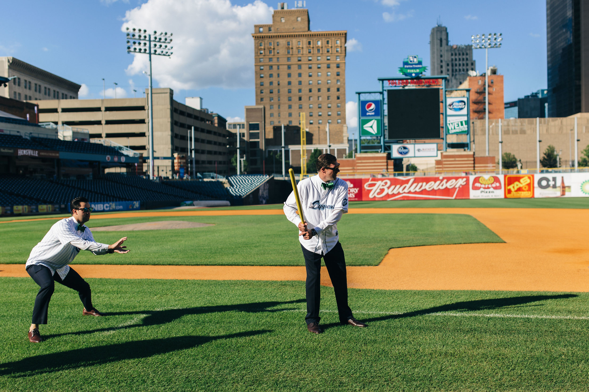 Baseball themed wedding at Hensville in Toledo, Ohio.
