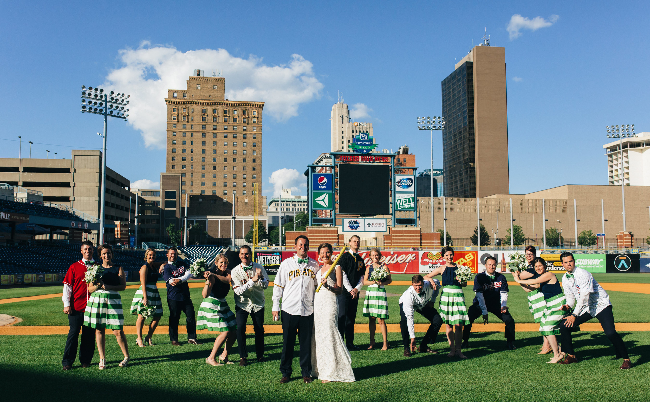 Bridal party on wedding day at Fifth Third Field in Downtown Toledo.