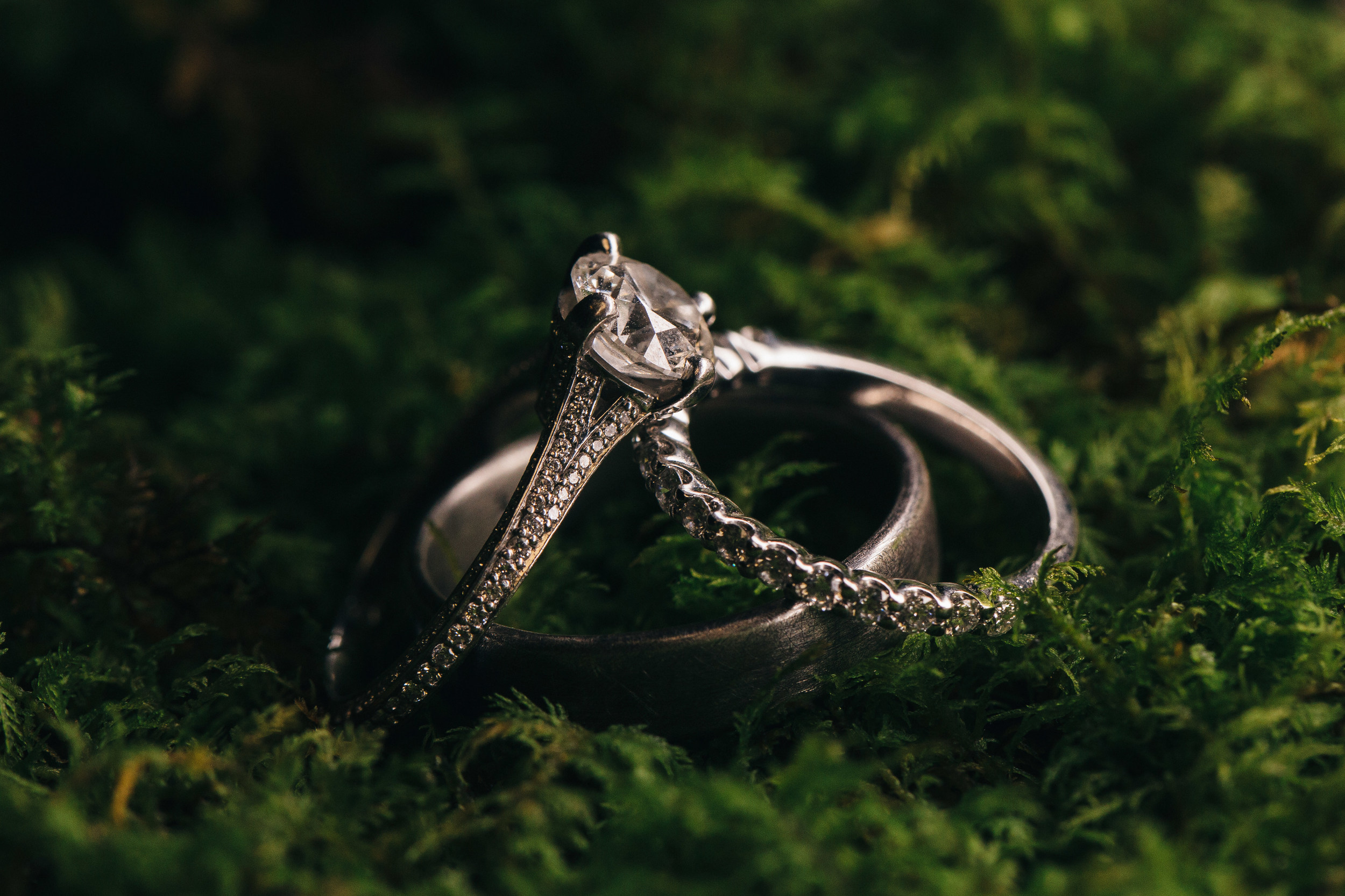 Diamond wedding ring detail photography