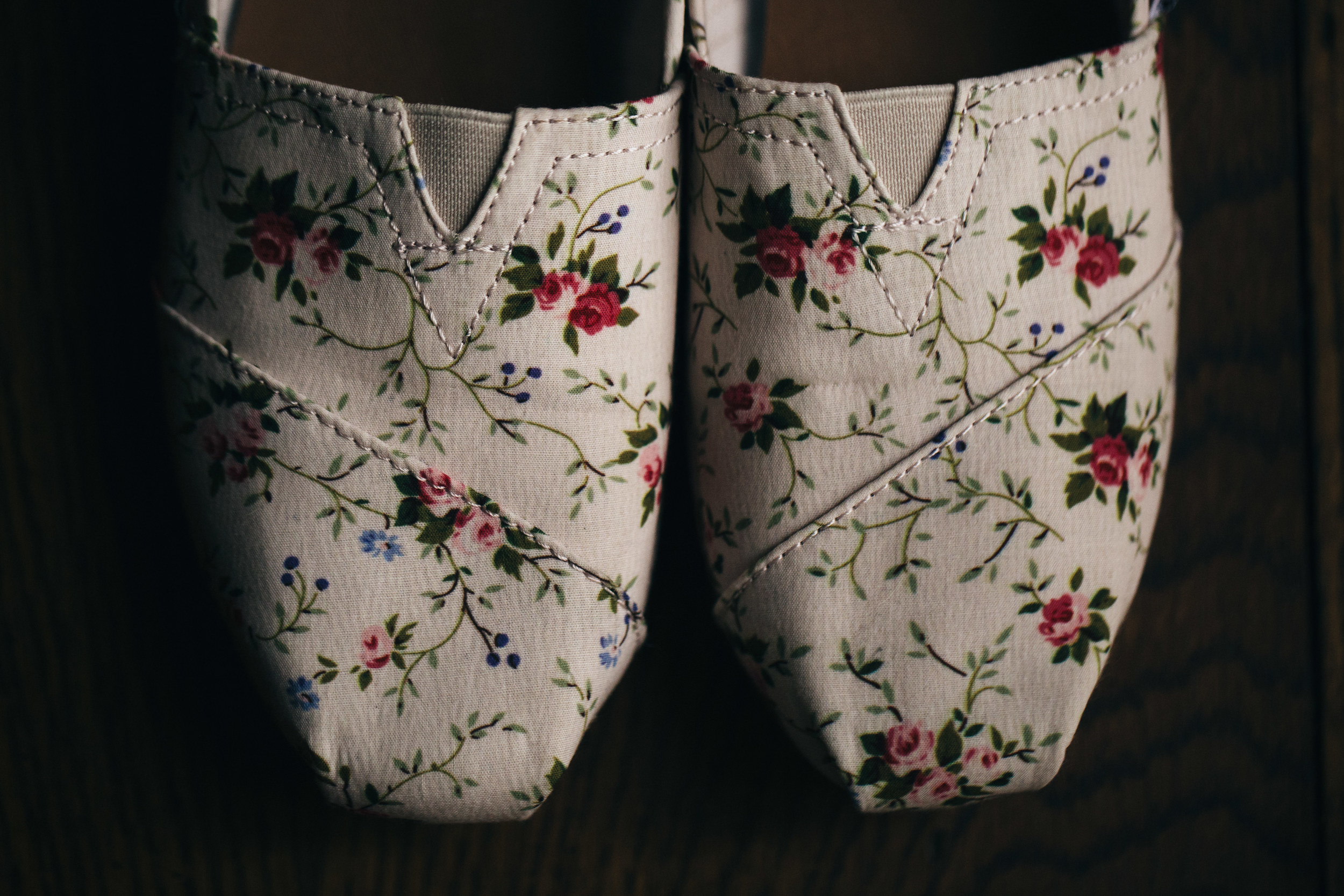 Floral wedding shoes from TOMS.