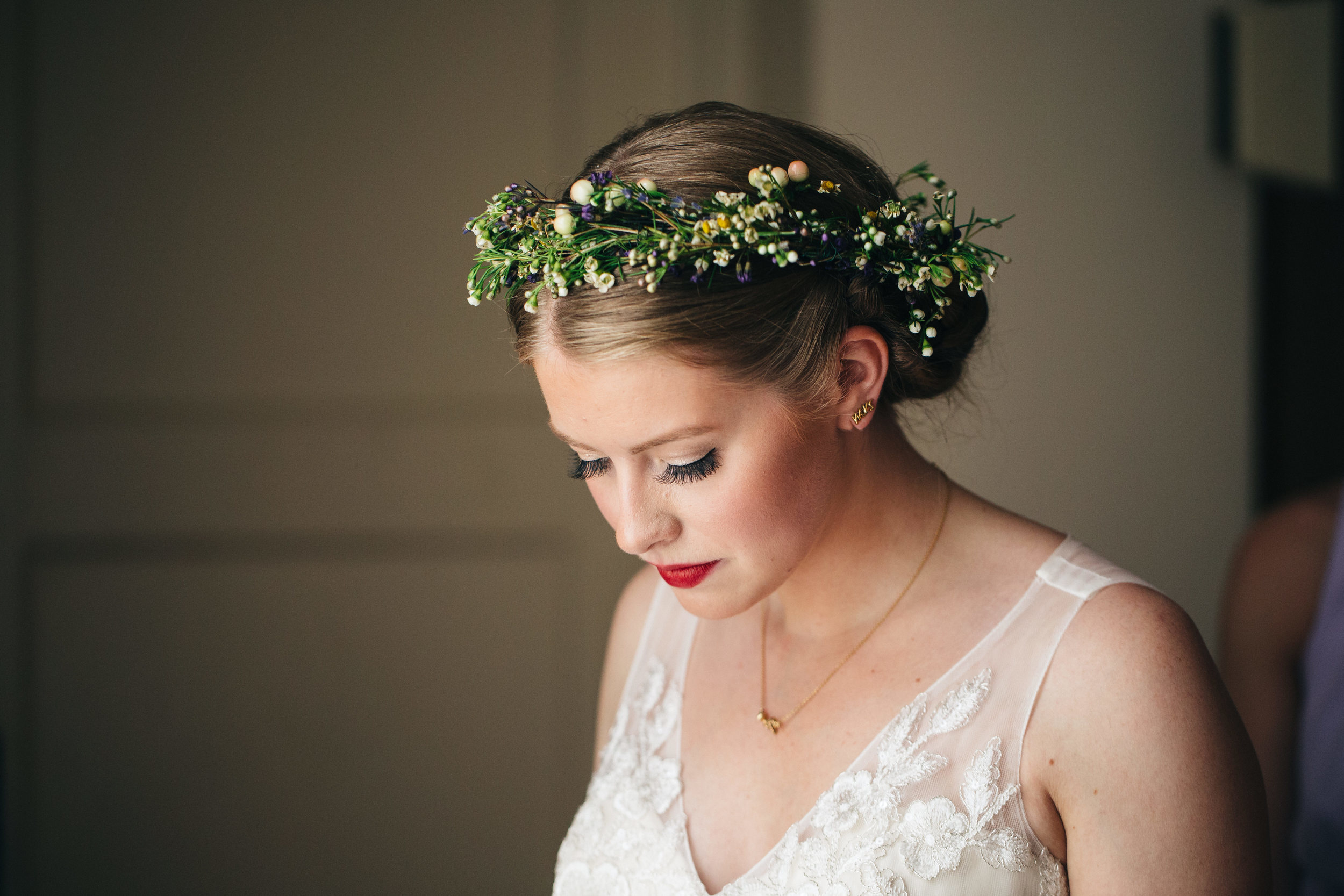 Gorgeous bridal makeup from Reve Salon in Toledo, Ohio.