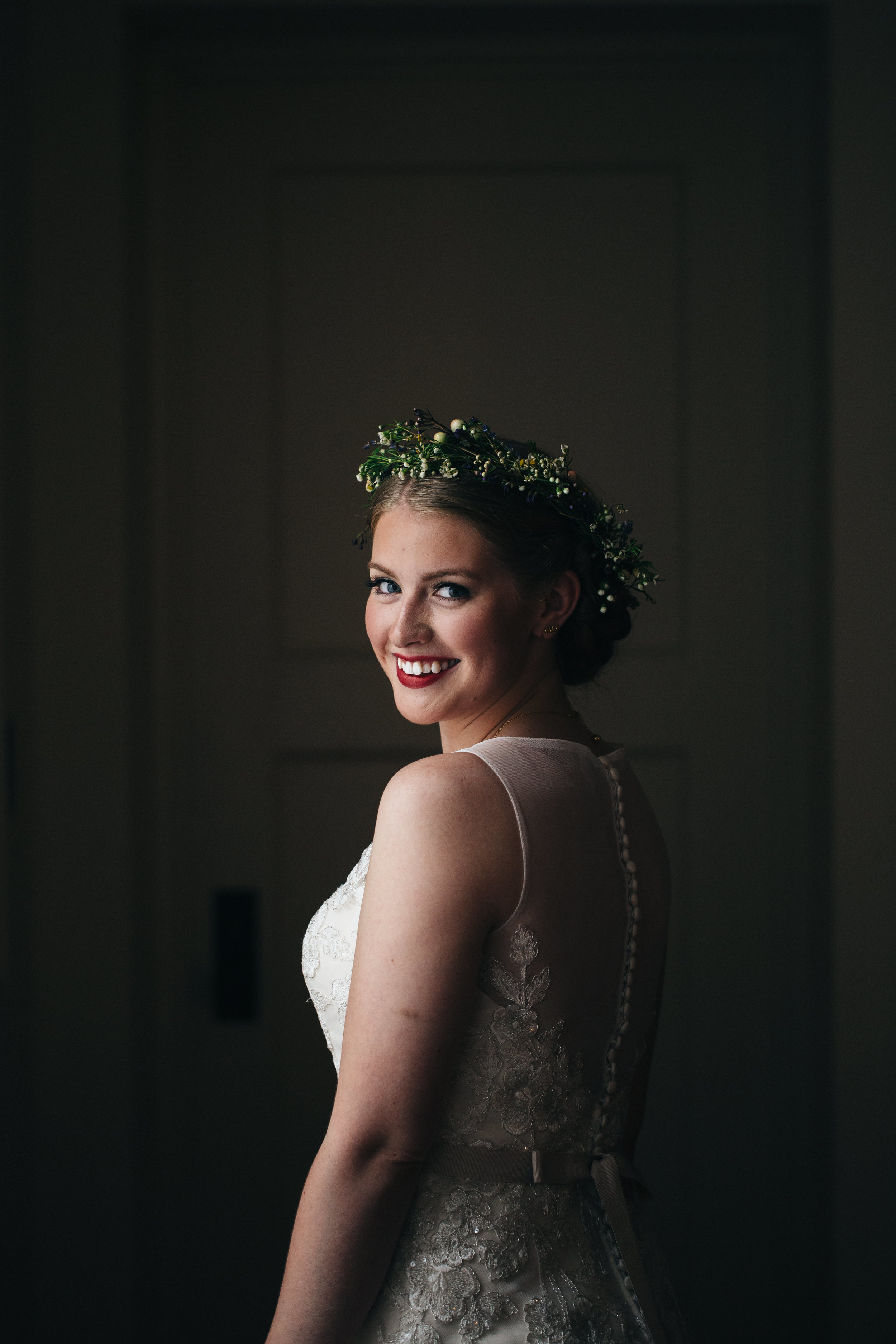 Bride in vintage wedding gown from Belle Amour Bridal.