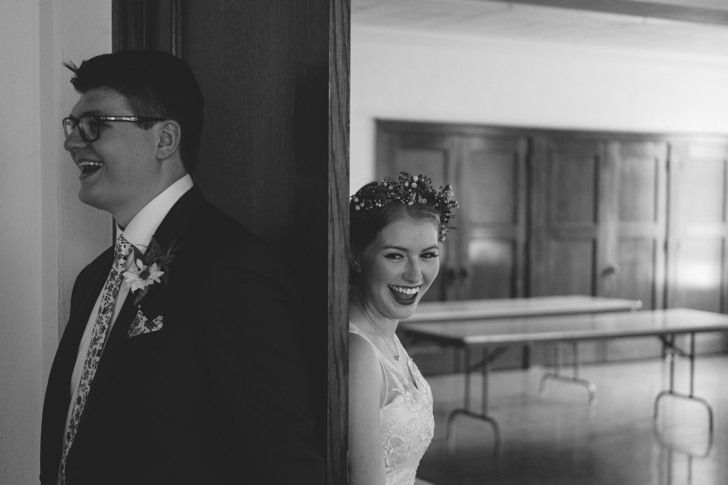 Bride and groom's blind prayer before wedding ceremony