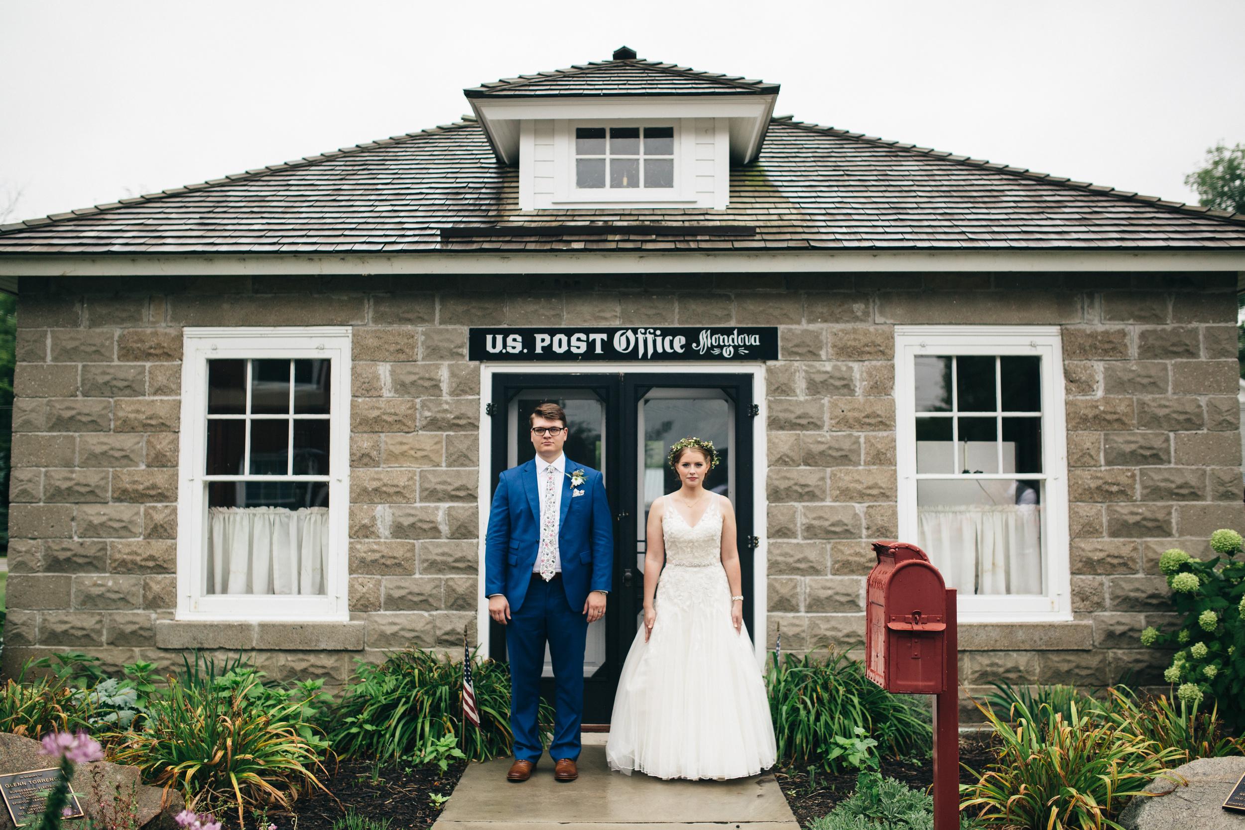 Bride and groom portrait at Monclova Community Center in Northwest Ohio.
