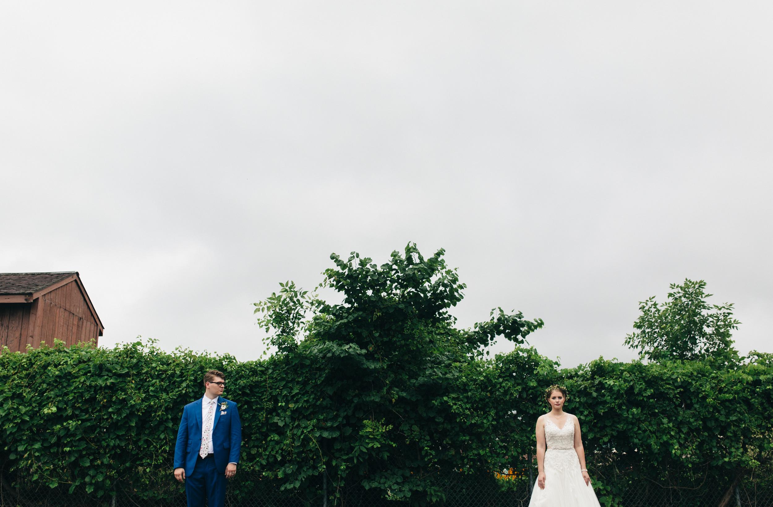 Bride and groom portrait in Toledo, Ohio.
