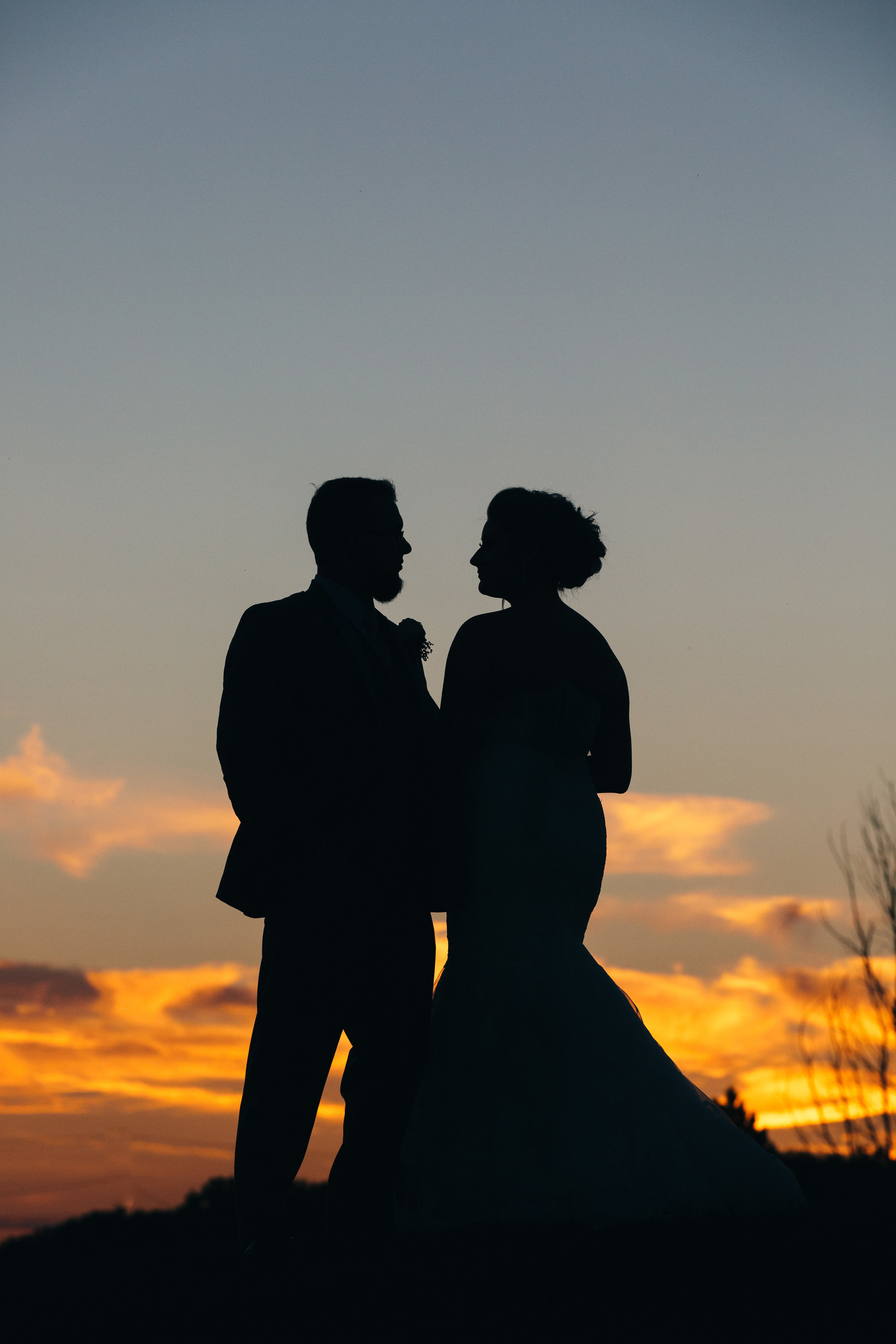 Sunset wedding photography at Bowling Green, Ohio