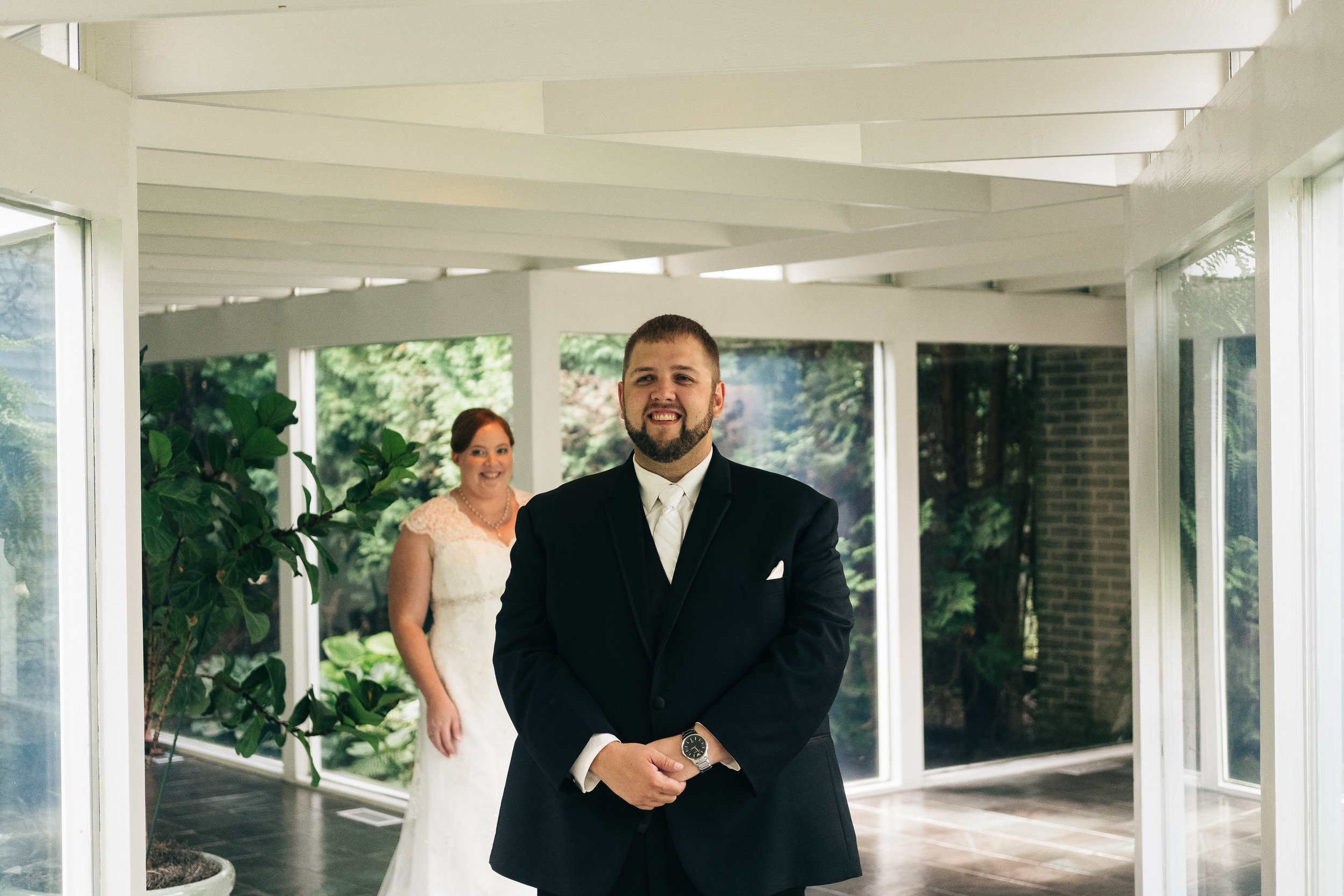 First look on wedding day at Walden Inn.