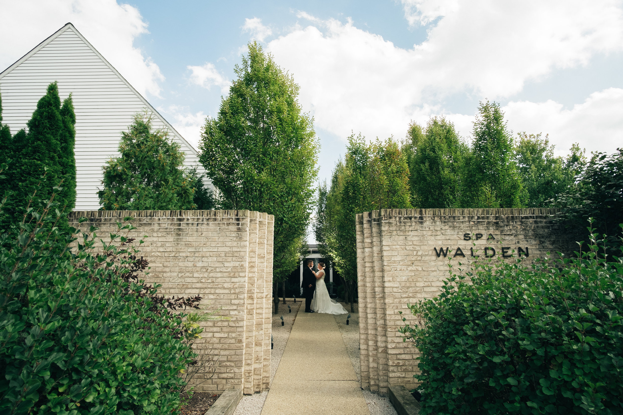 Bride and groom on wedding day at Spa Walden