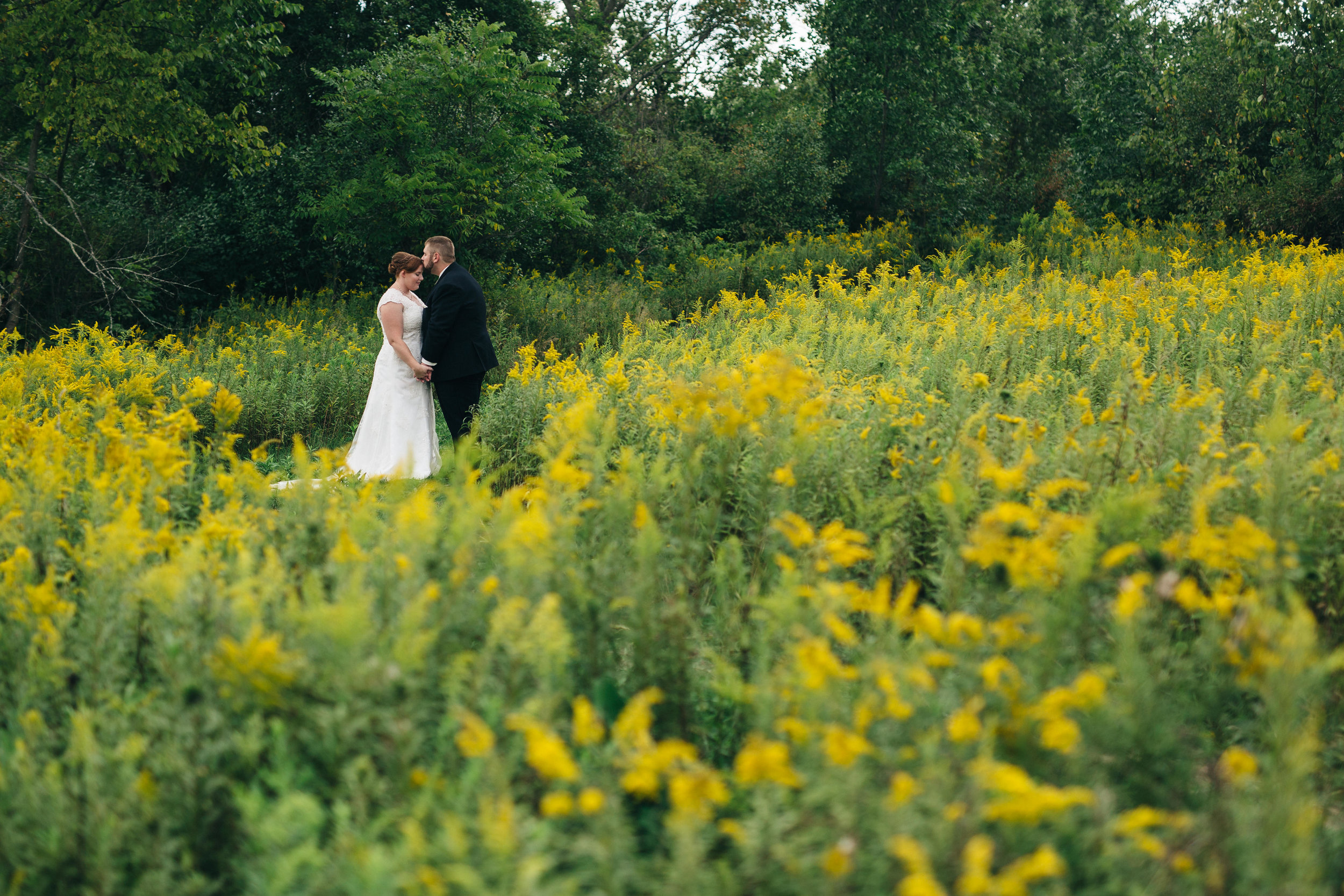 Bride and groom on wedding day at Walden Inn & Spa near Cleveland, Ohio