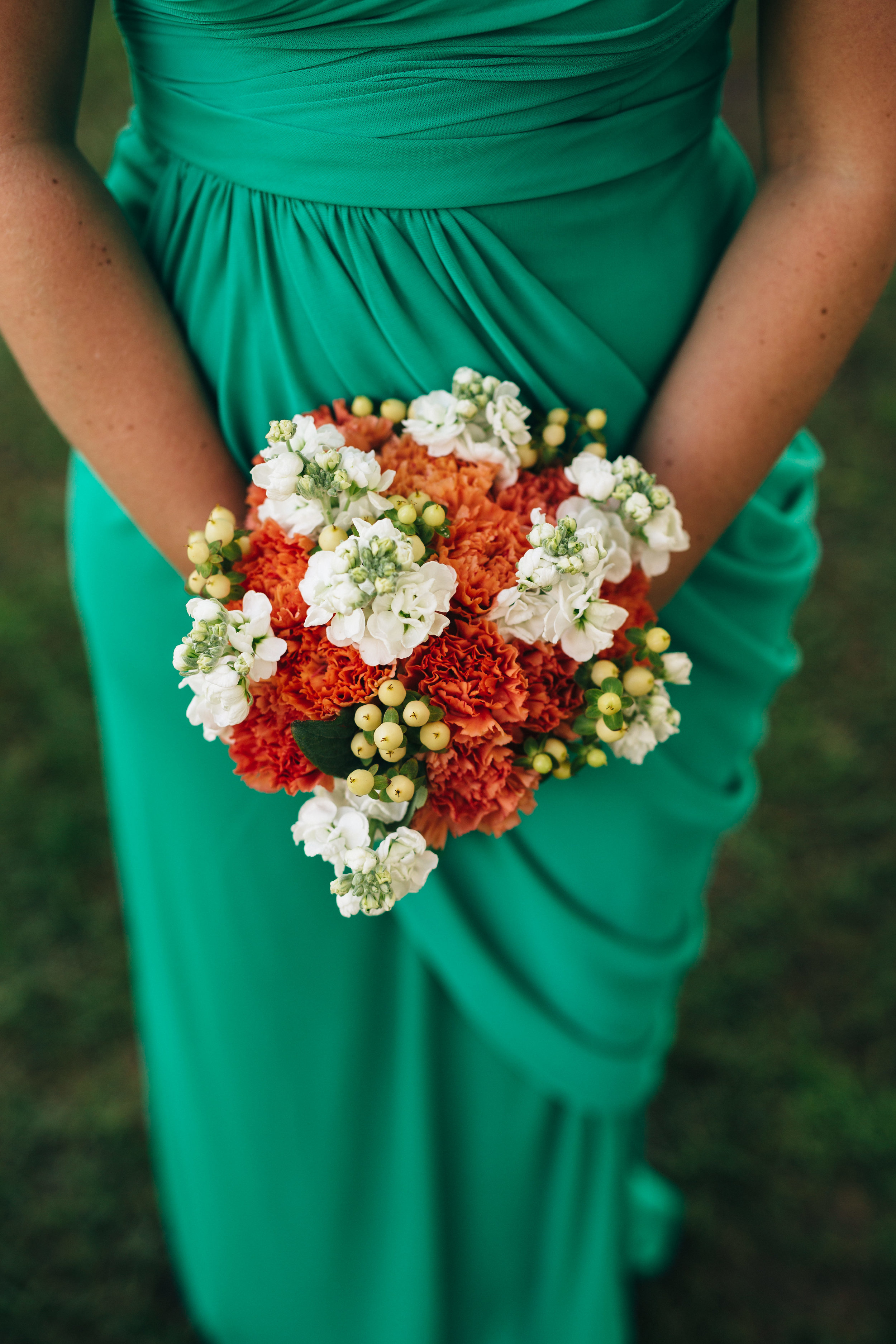 Bridesmaids dress and bouquet.