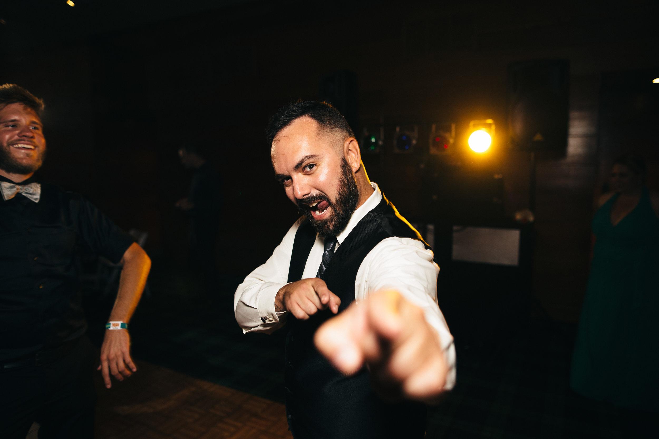Fun dancing at wedding reception at Walden Inn
