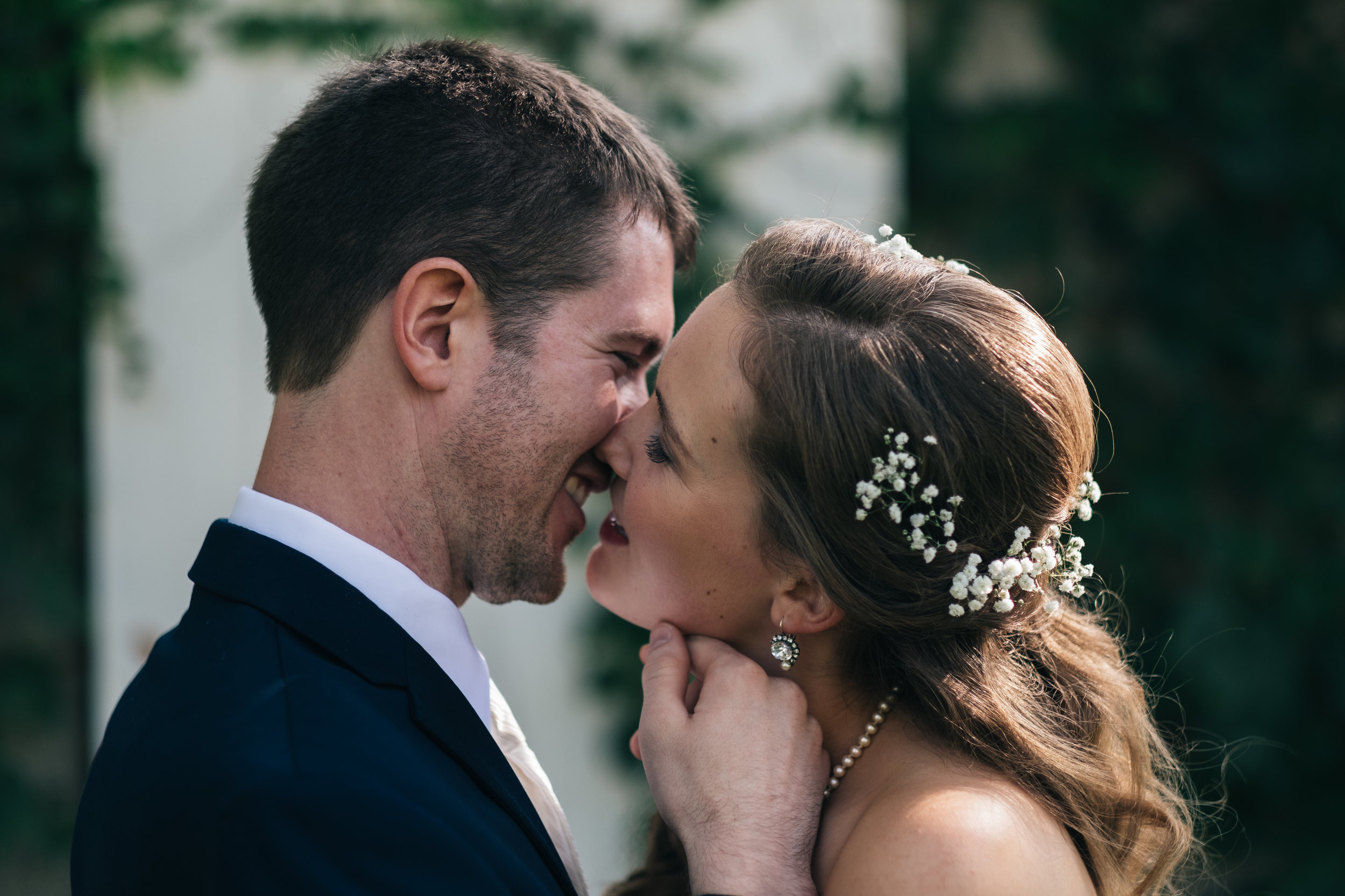 Wedding photography of bride and groom.