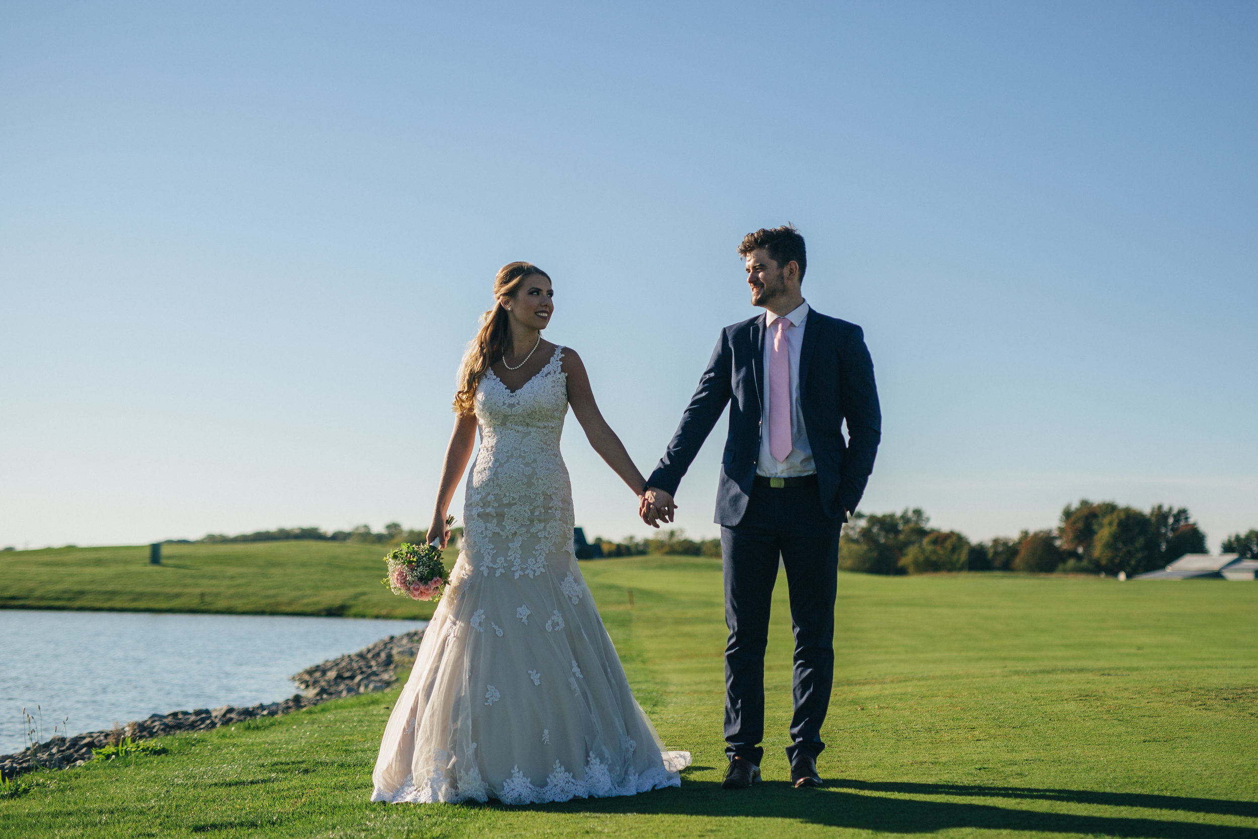 Bride and groom at Stone Ridge Golf Club in Bowling Green, Ohio.
