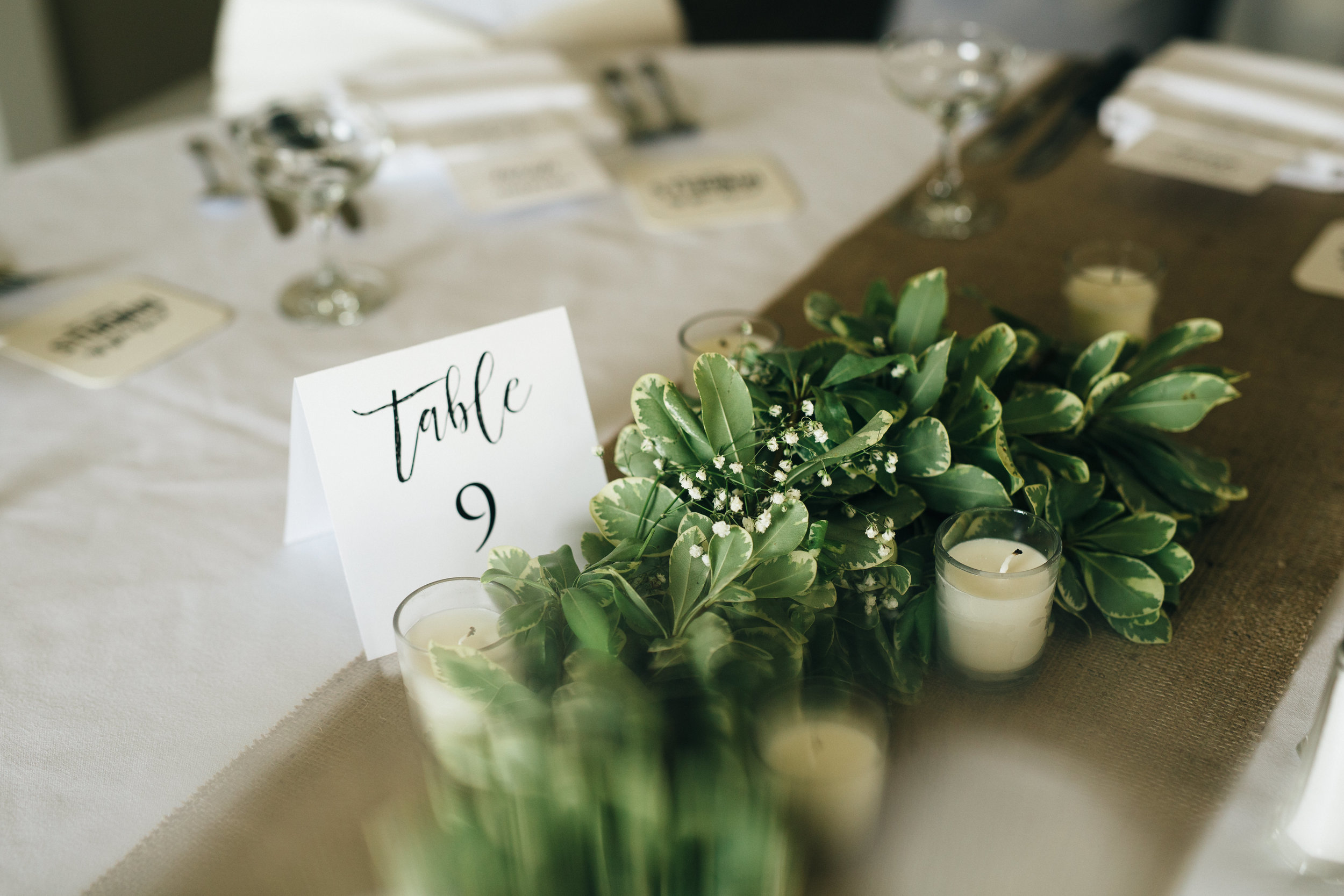 Wedding decor and table placers at Highland Meadows in Toledo, Ohio.