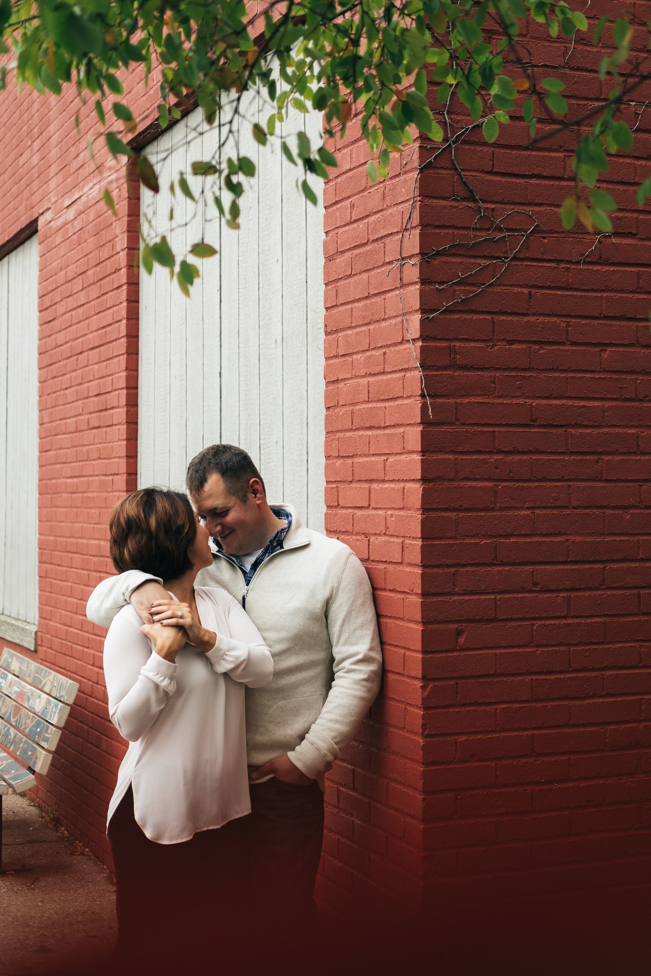 Downtown Toledo fall engagement style.