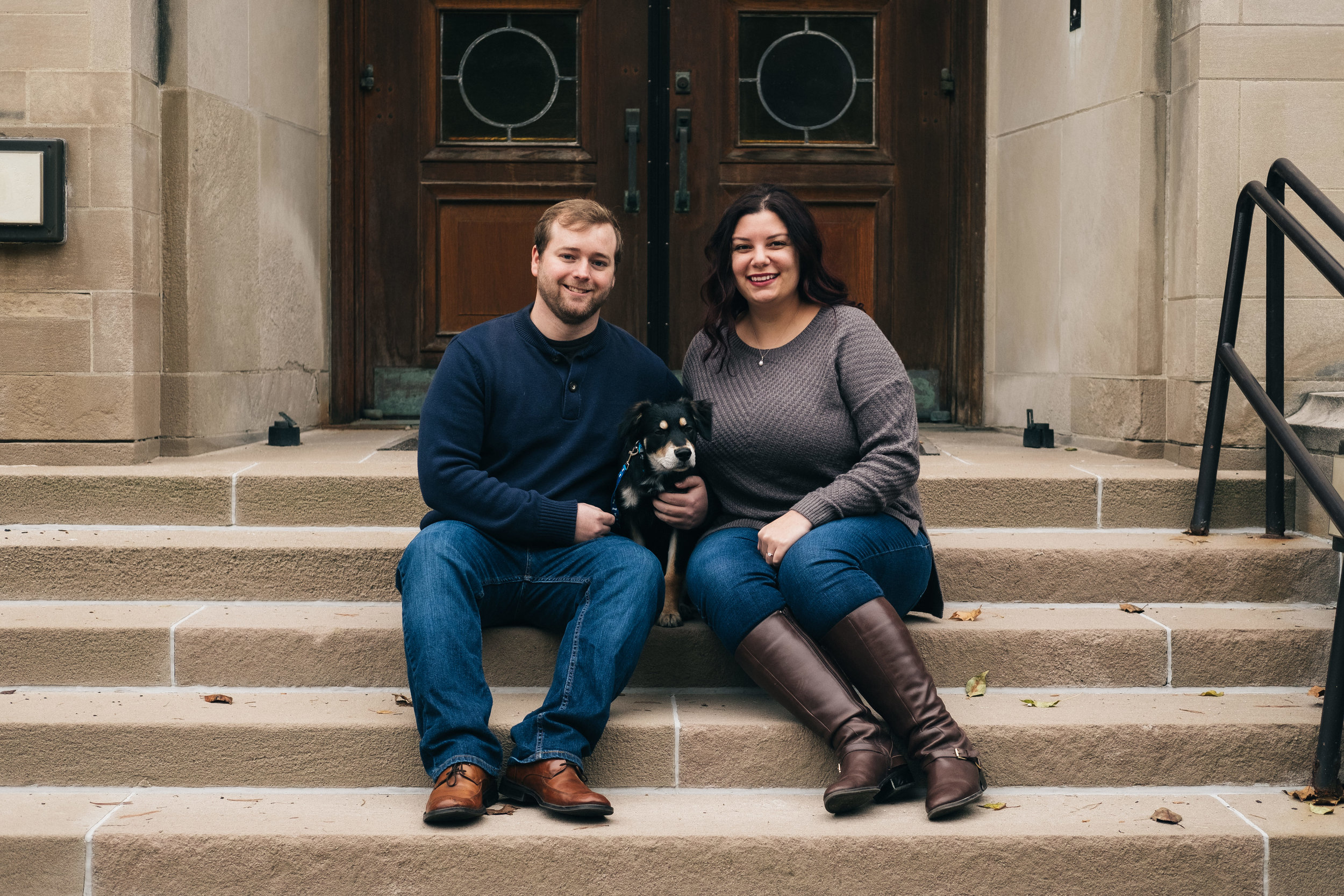 Cute dog joins in on the engagement session in downtown Toledo, Ohio.