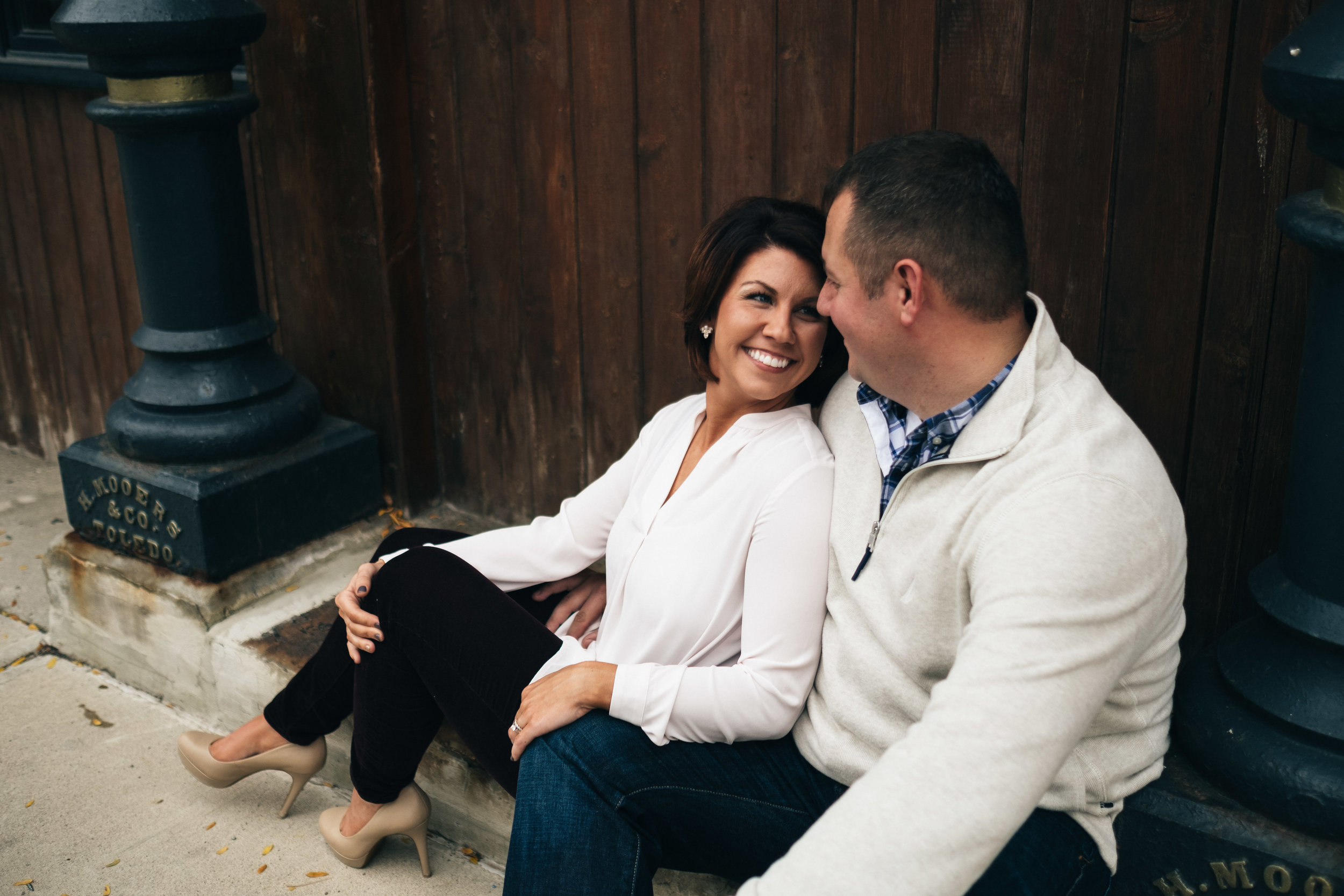 Stylish engagement session in downtown Toledo, Ohio.